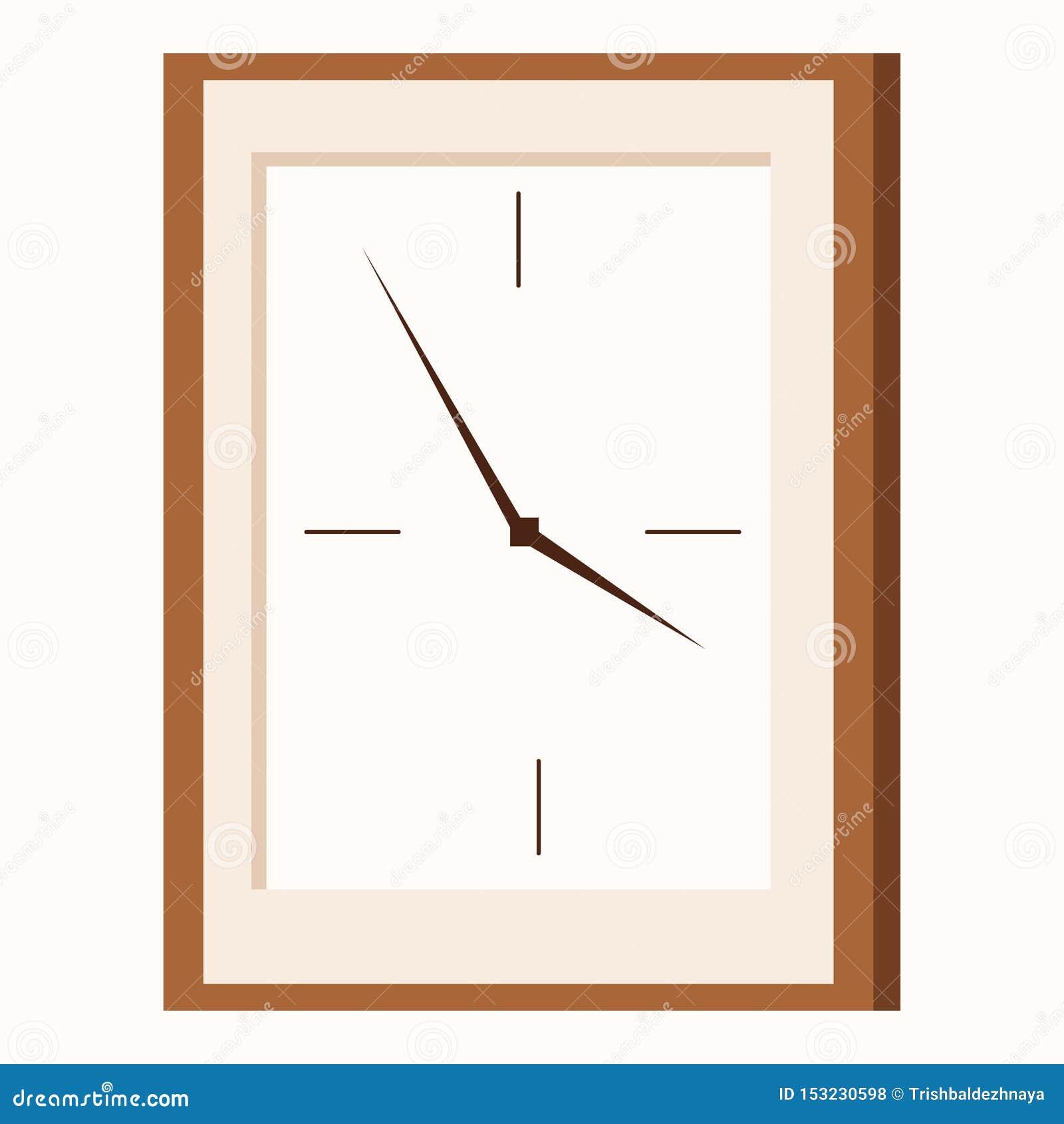 Icona piana di stile del fumetto dell orologio di parete rettangolare di forma