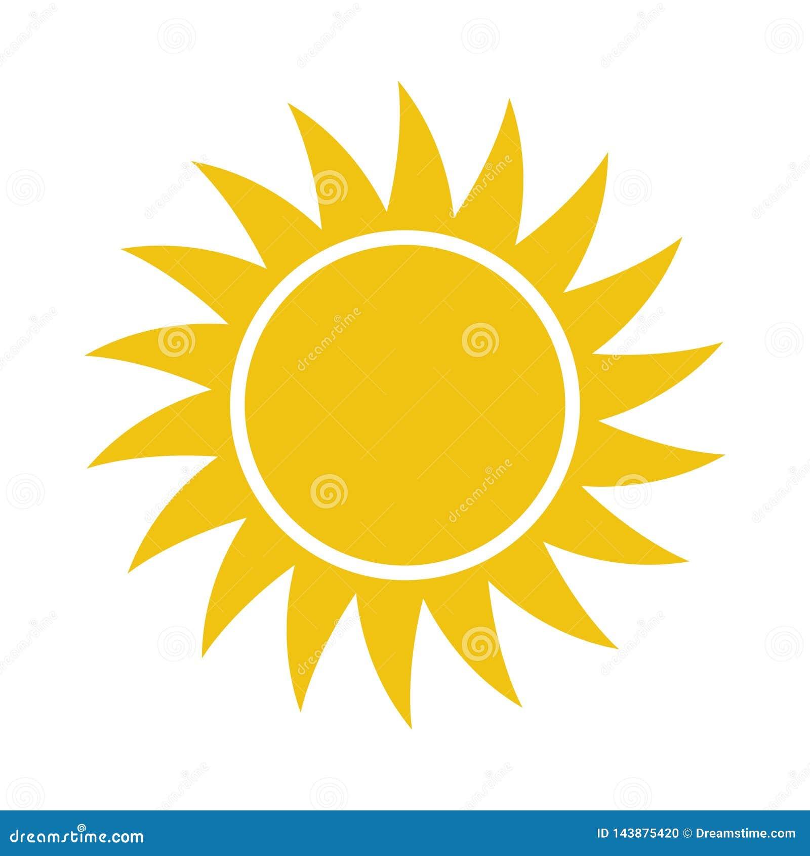 Icona piana di Sun Pittogramma di Sun illustrazione di vettore del modello