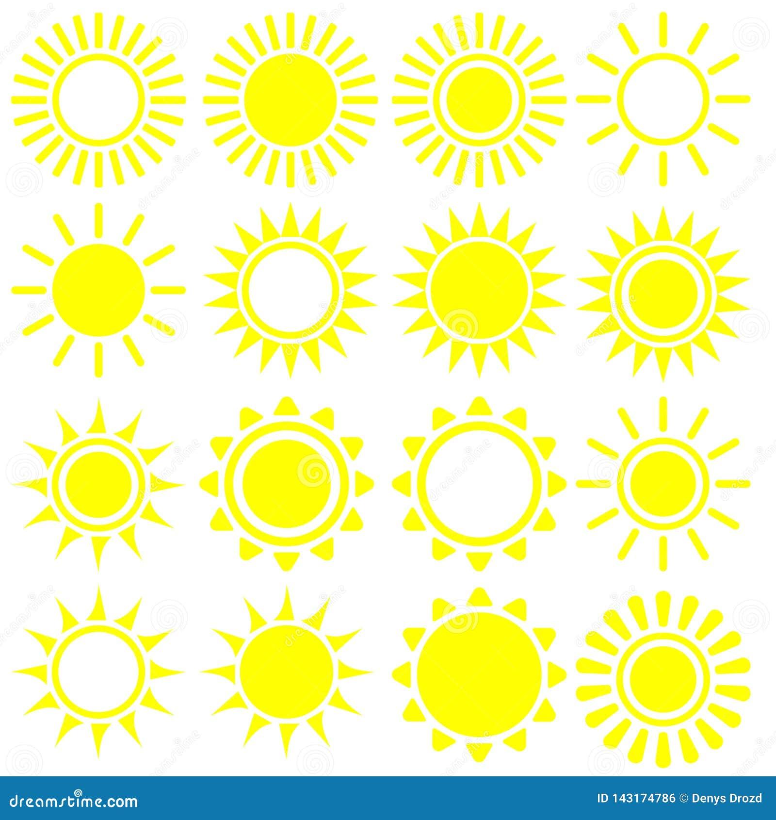 Icona piana di Sun Pittogramma di Sun Simbolo d avanguardia di estate di vettore per progettazione del sito Web, bottone di web,