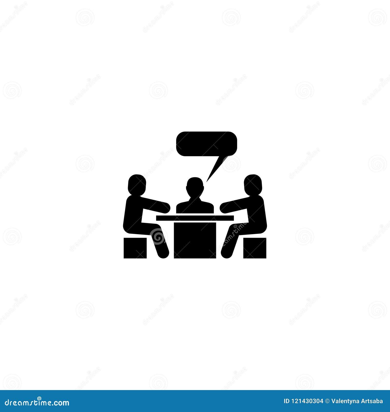 Icona piana di vettore di conversazione di riunione di discussione