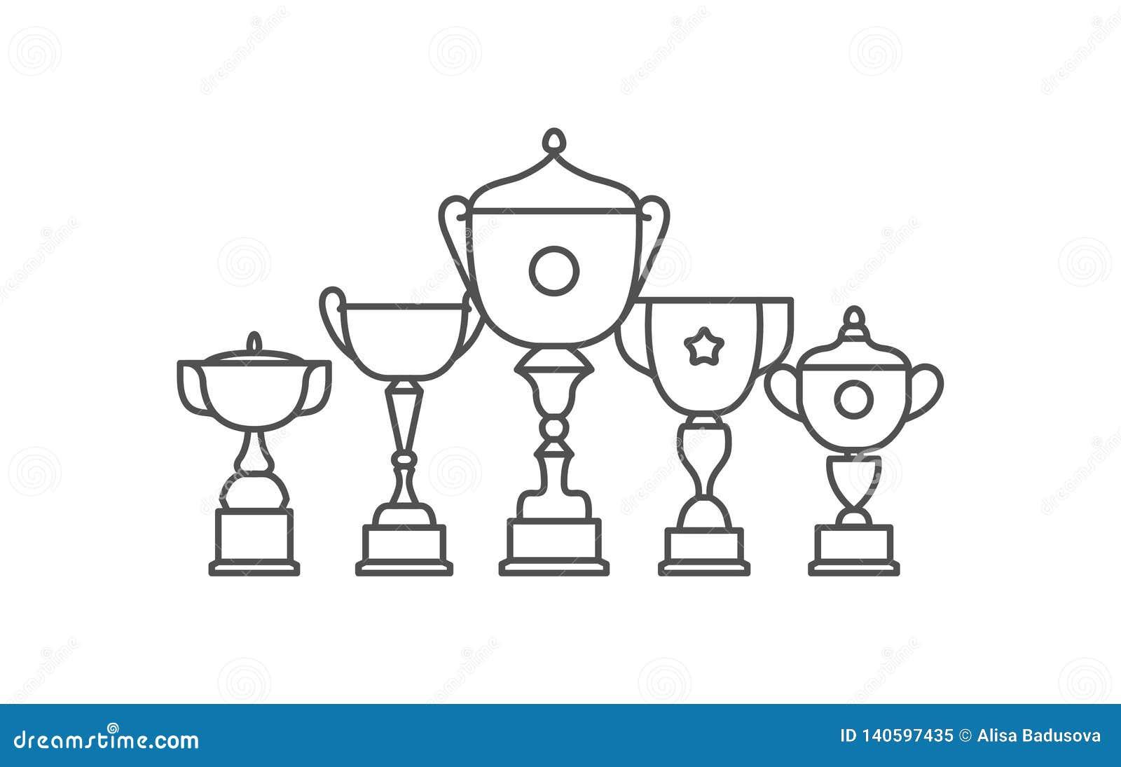 Icona piana di vettore dell icona della tazza del vincitore del trofeo Insieme piano dell icona di vettore del premio