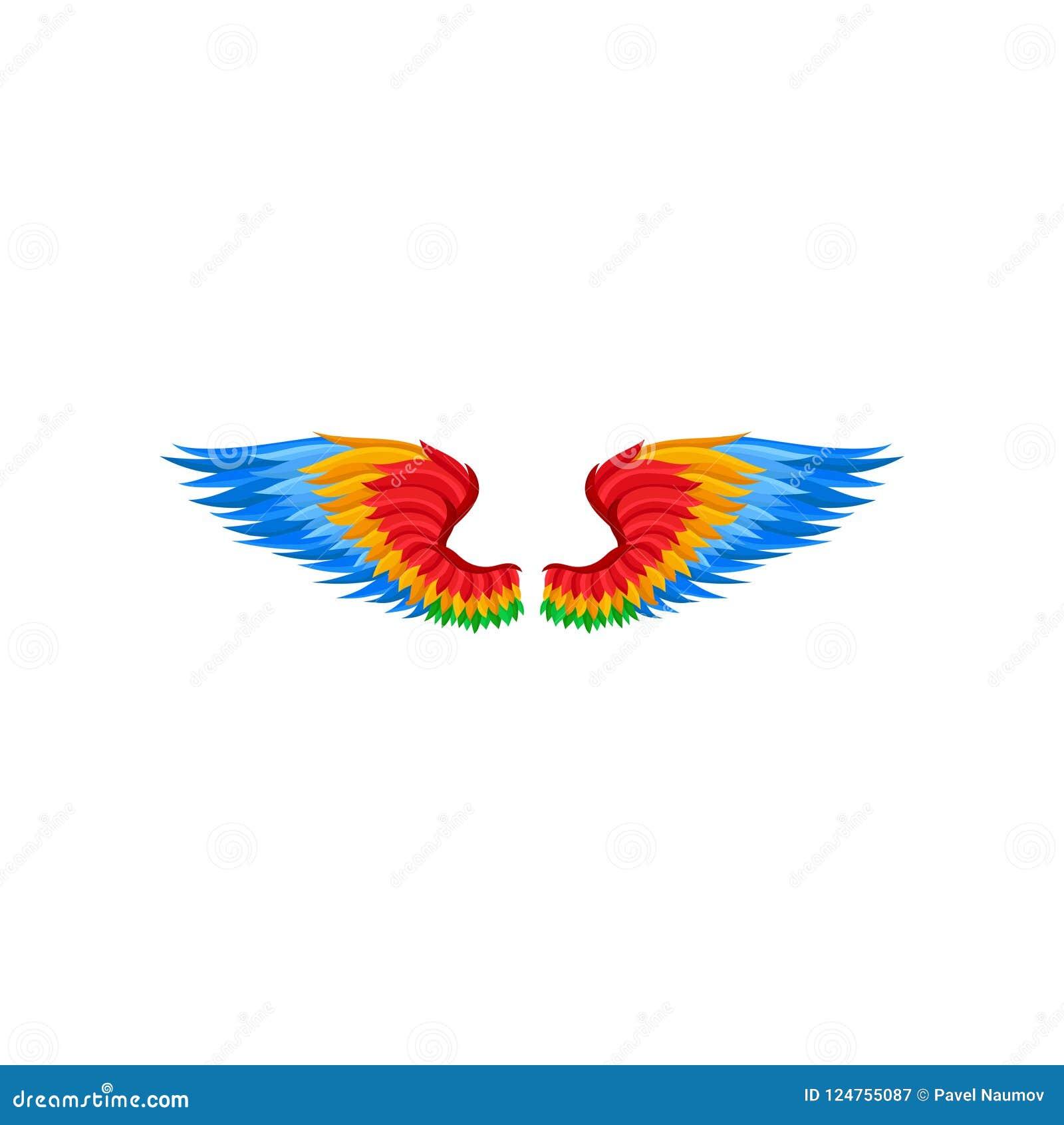 Icona piana di vettore delle ali con le piume rosse, arancio e blu Accessorio luminoso per il partito di carnevale Elemento del t