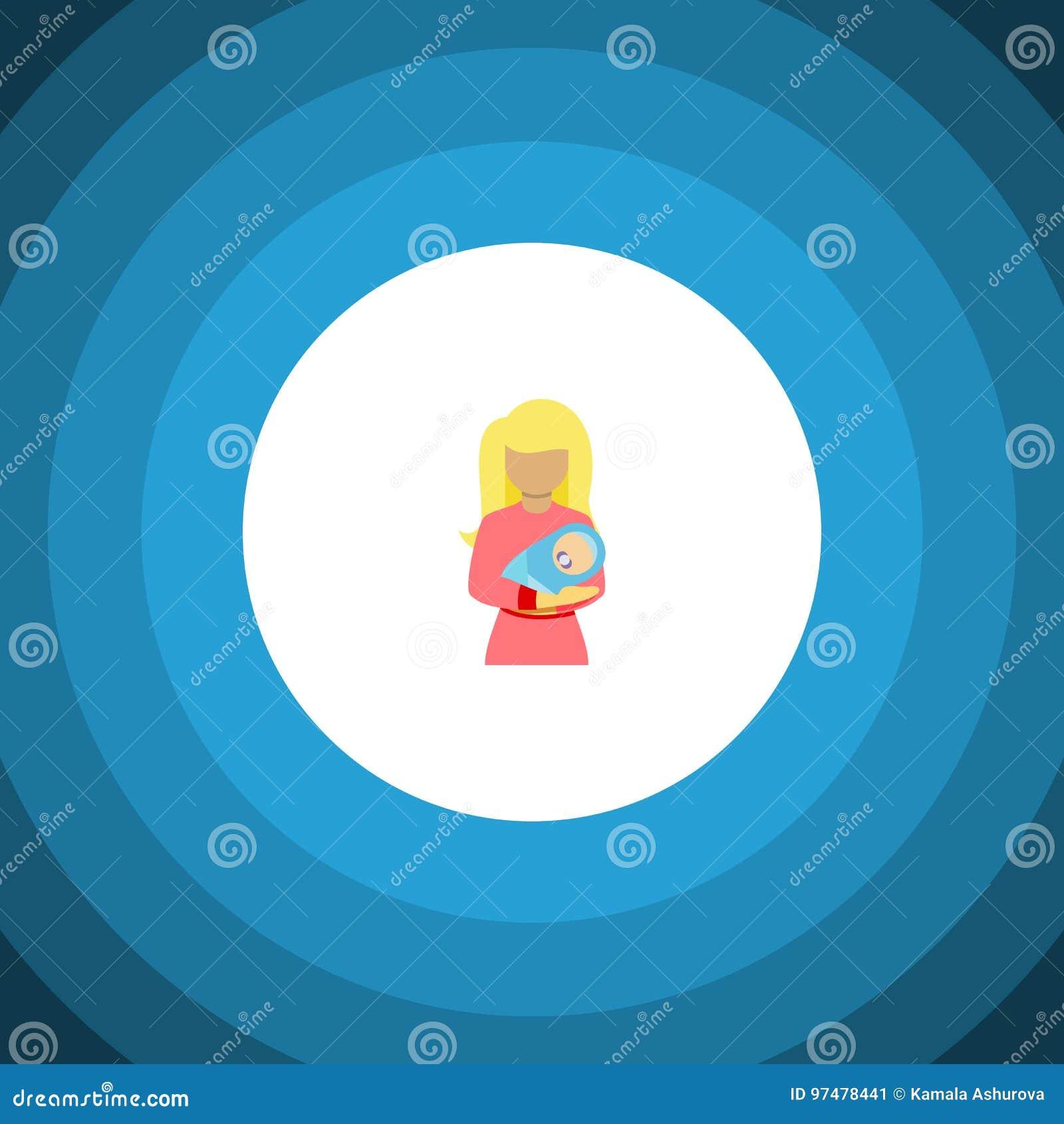 Icona piana isolata della donna L elemento di vettore del bambino può essere usato per la donna, il bambino, concetto di progetto
