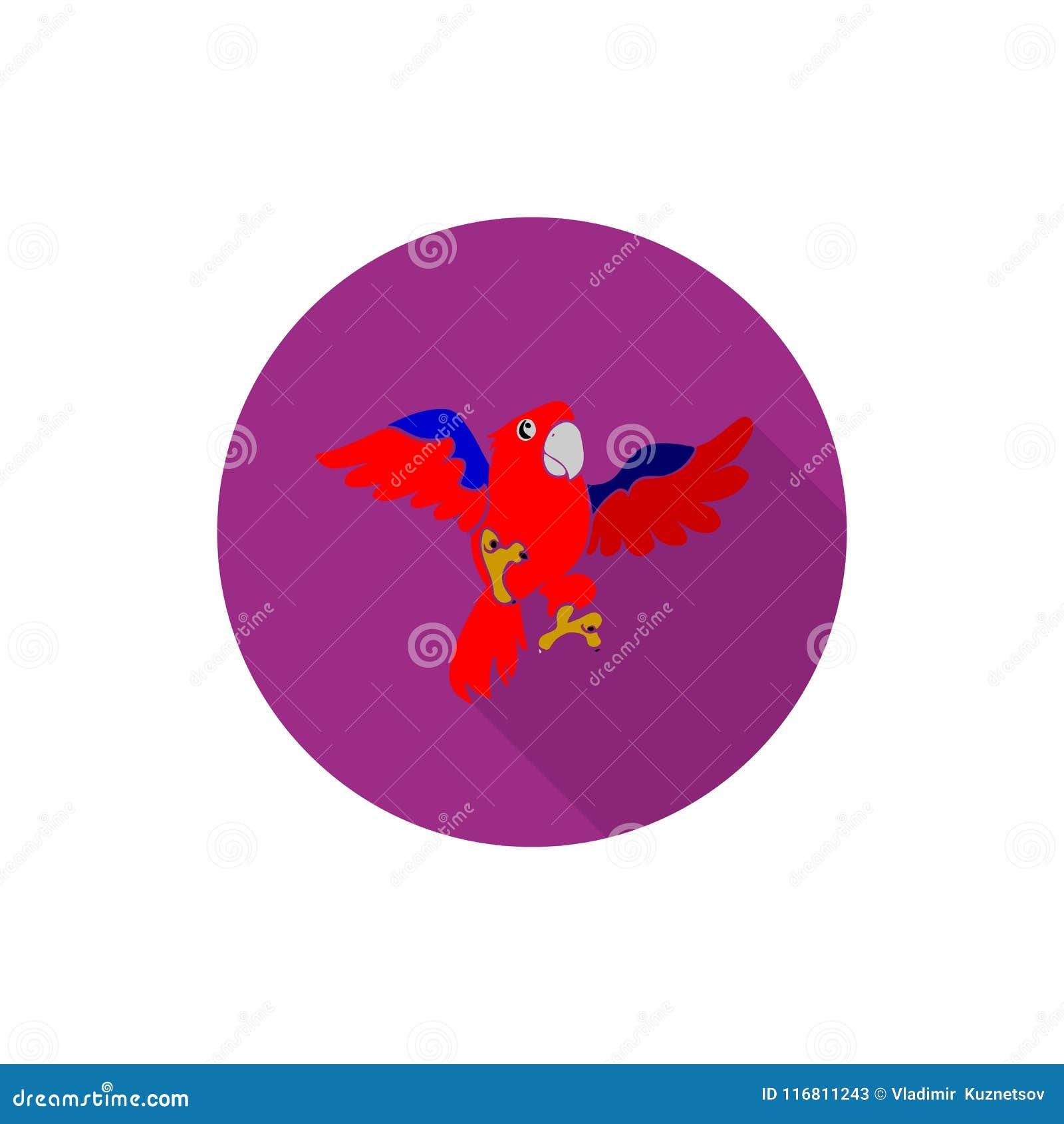 Icona piana porpora rotonda, pappagallo rosso in volo, su backgroun bianco