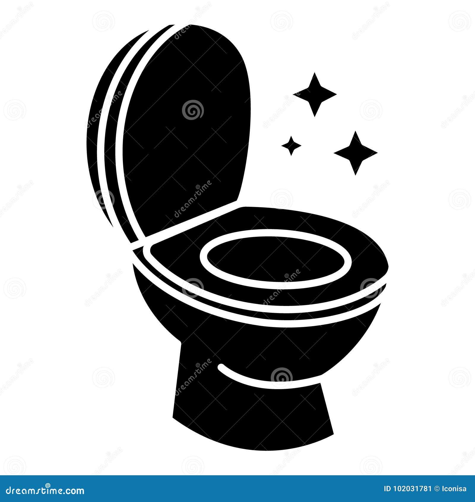 Icona pulita di pulizia della toilette, illustrazione di vettore, segno nero su fondo isolato