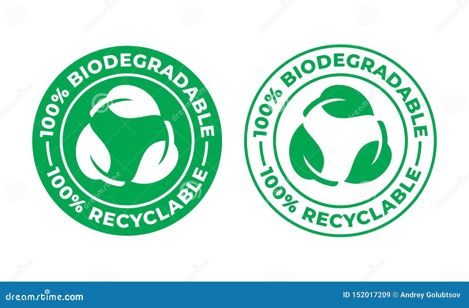 Icona riciclabile biodegradabile di vettore logo riciclabile di 100 per cento bio- e degradabile del pacchetto