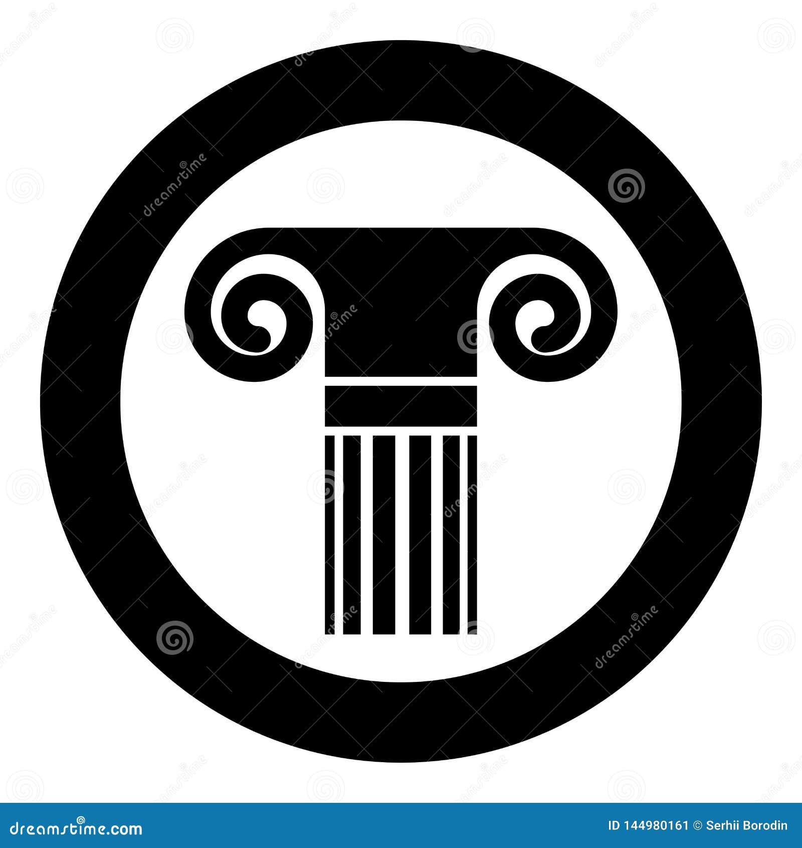Icona romana greca della colonna di stile della colonna dell oggetto d antiquariato della colonna di architettura della colonna c