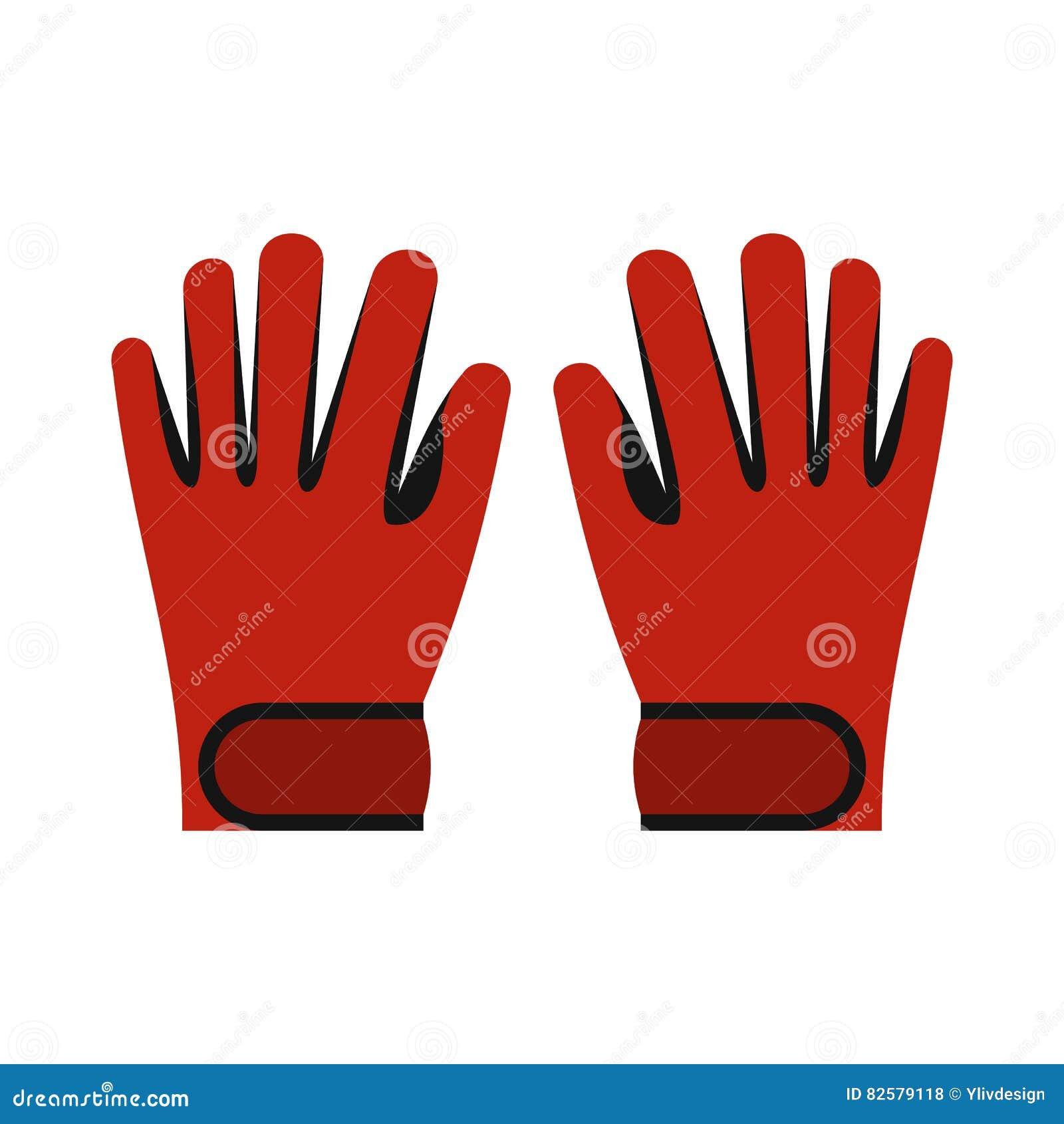 Icona rossa dei guanti dello sci di inverno, stile piano