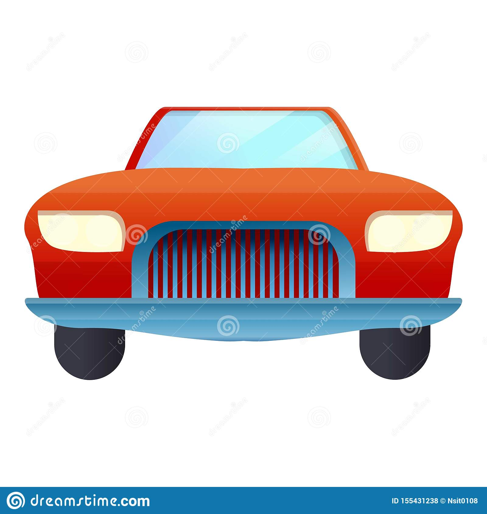 Icona rossa del cabriolet della parte anteriore, stile del fumetto