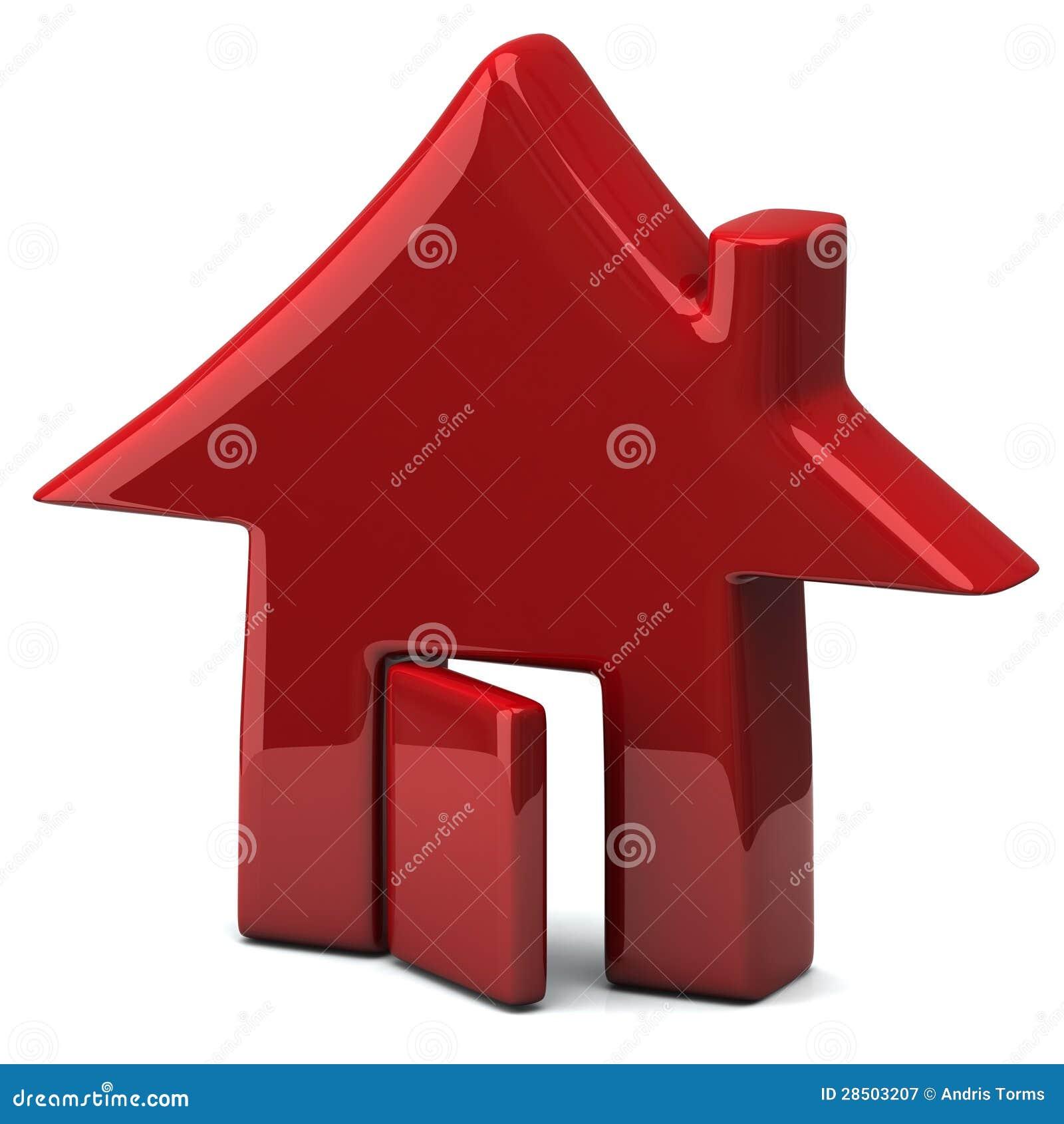 Icona rossa della casa 3d fotografia stock libera da for Design della casa libera