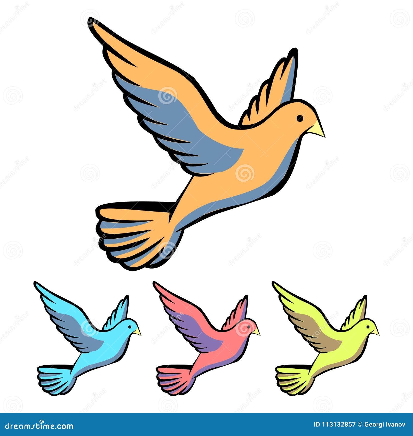 Icona semplice e piana della colomba Quattro variazioni di colore Isolato su bianco