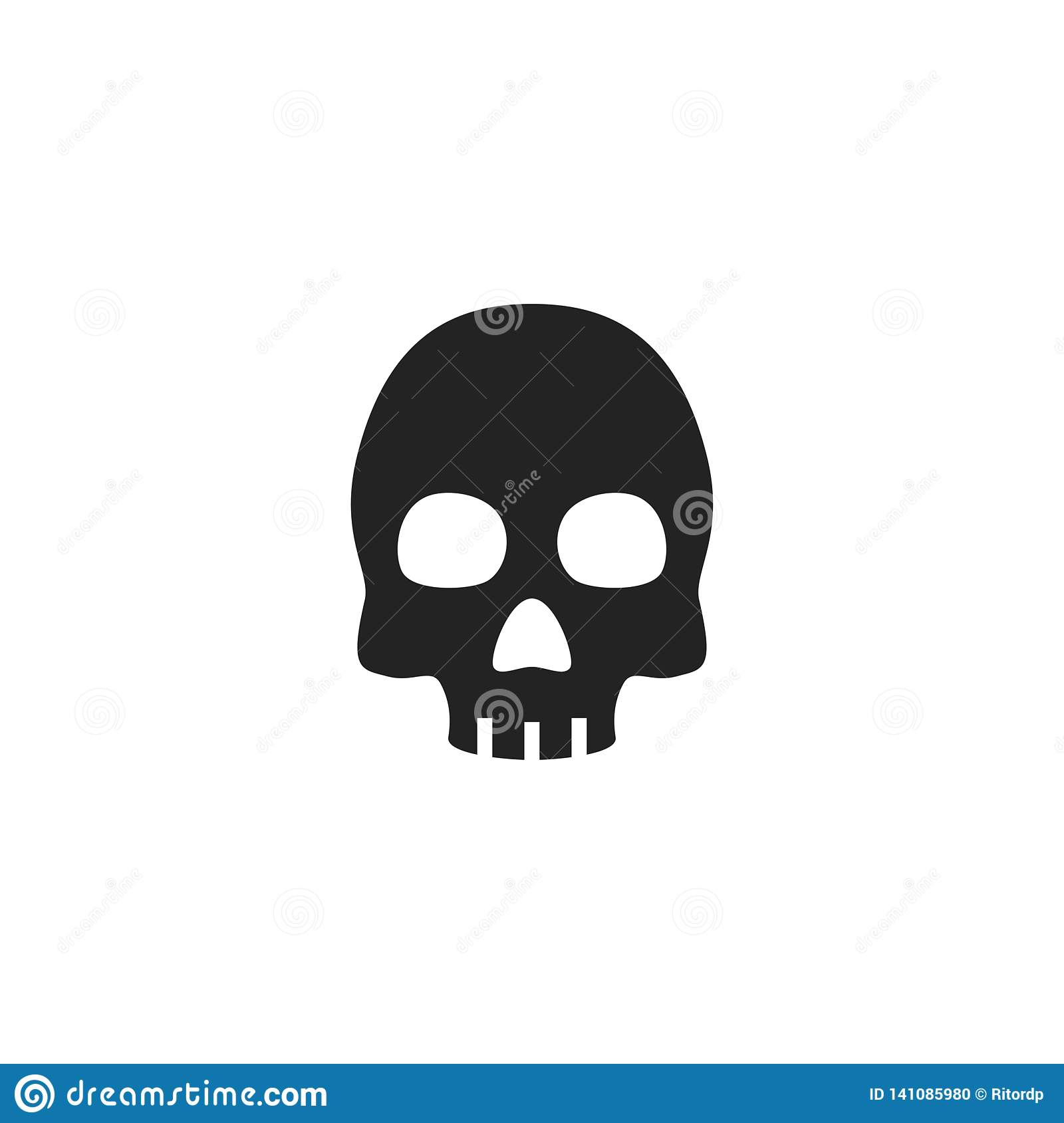Icona, simbolo o logo di vettore di glifo del cranio