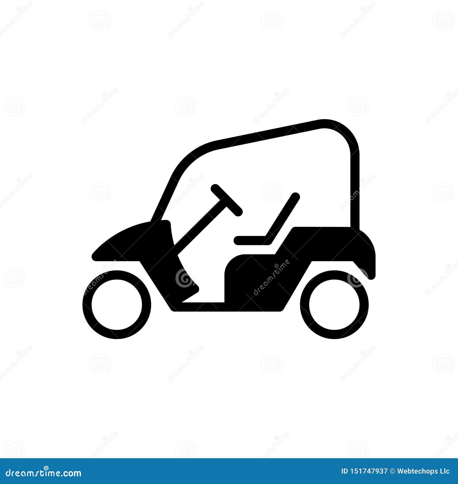 Icona solida nera per il carretto di golf, aperta ed elettrica