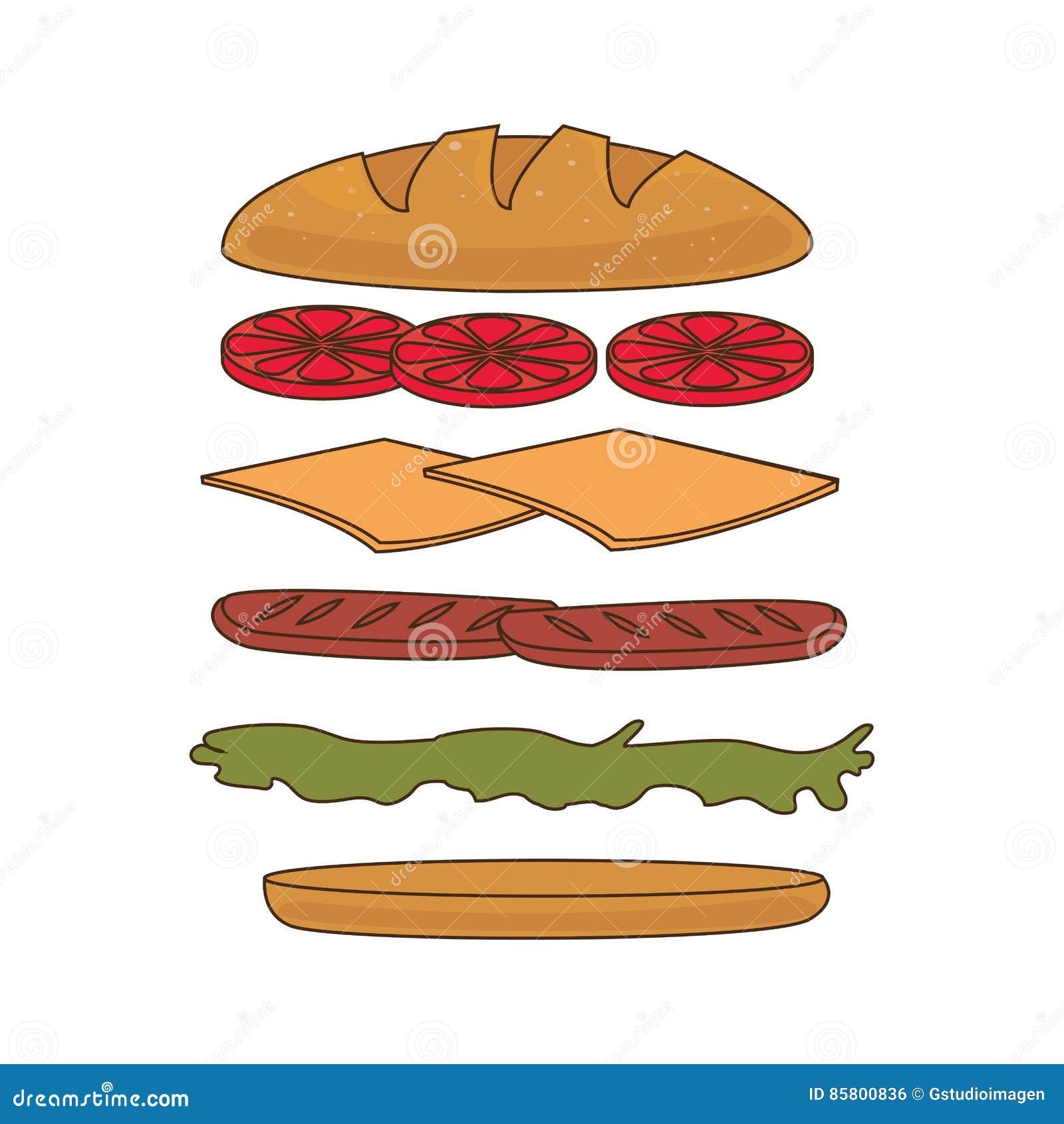 Icona stabilita degli ingredienti del panino