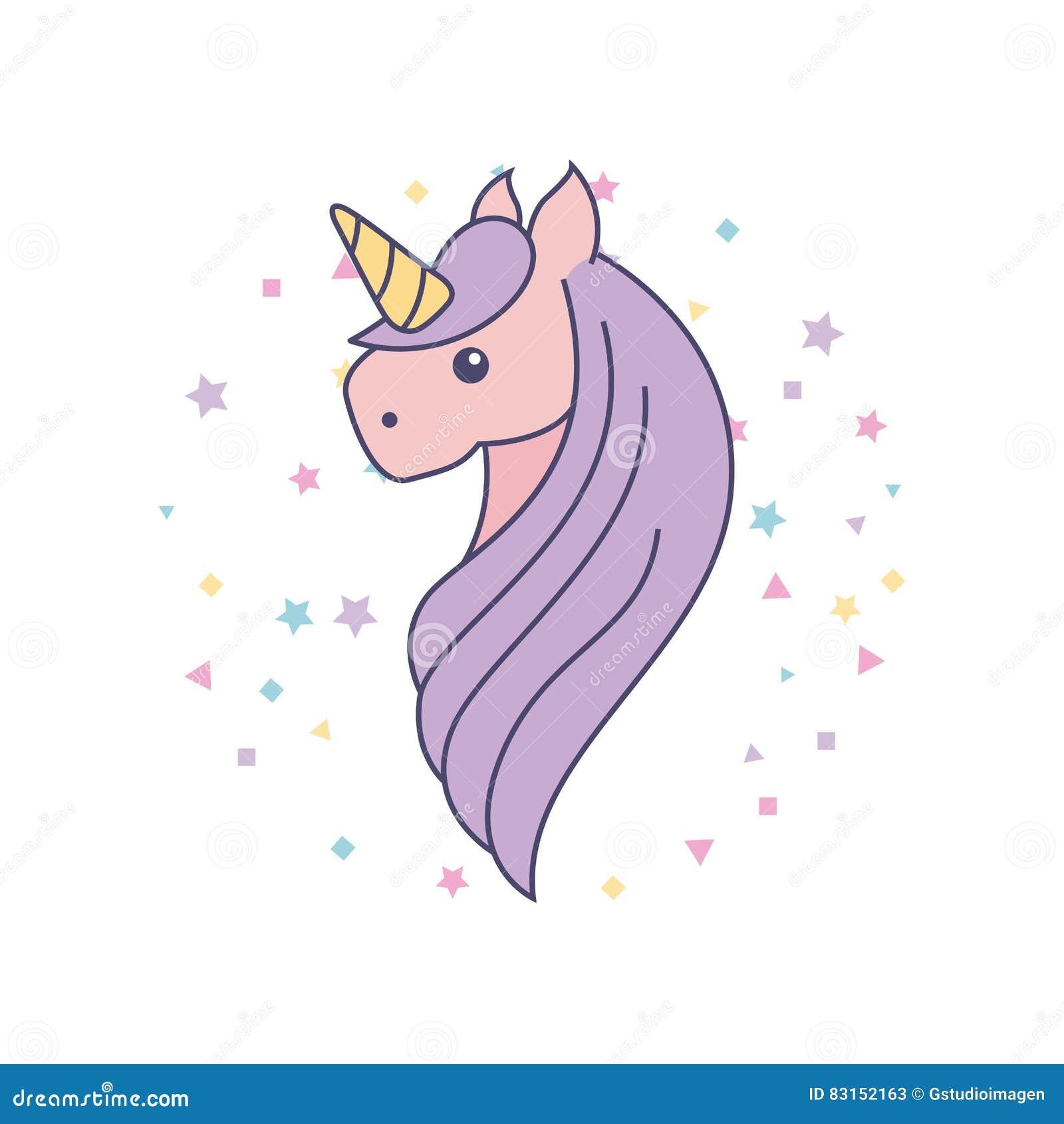 Icona Sveglia Di Disegno Dell Unicorno Illustrazione Di Stock