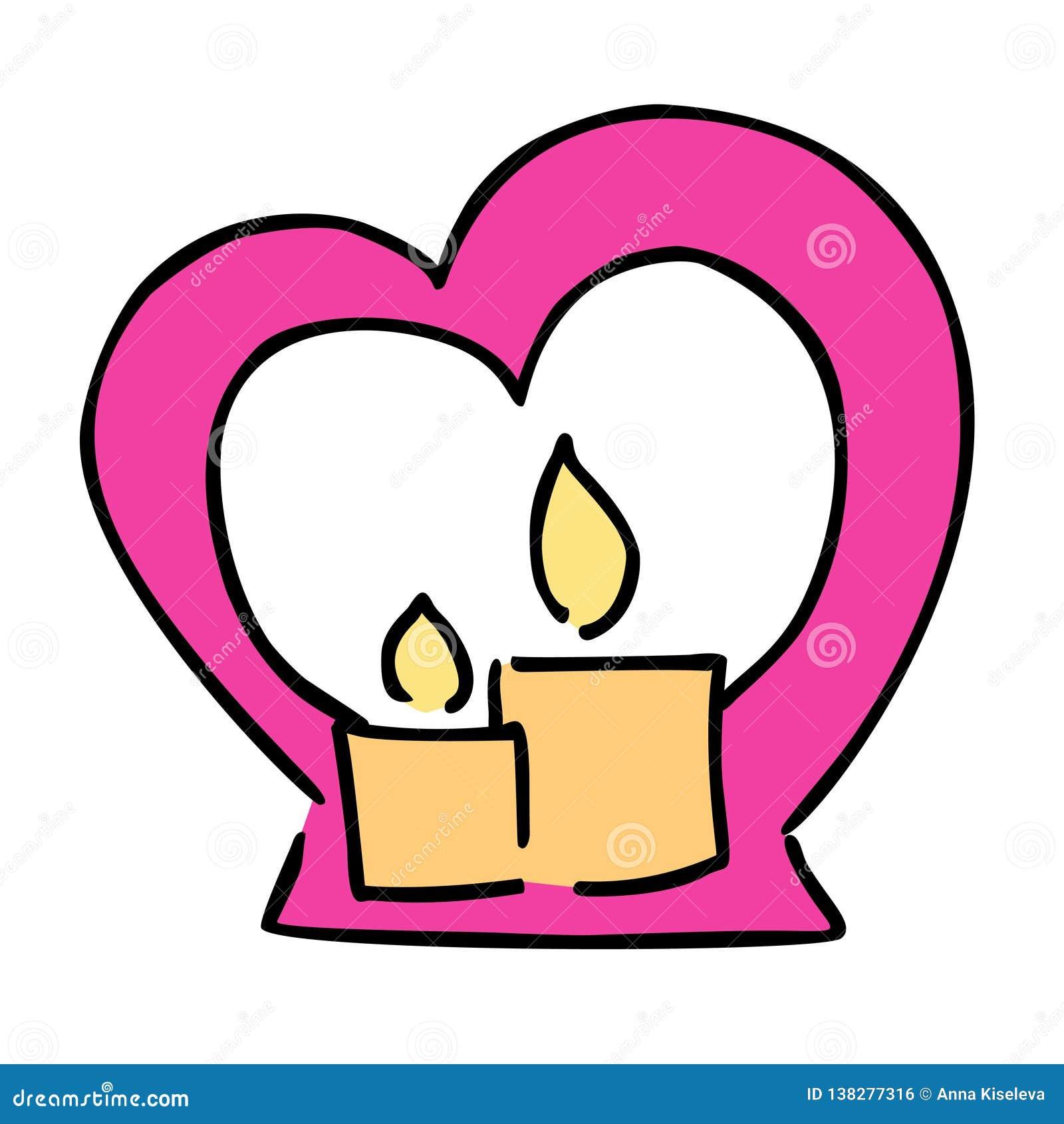 Icona sveglia di vettore di colore di giorno di biglietti di S. Valentino della candela