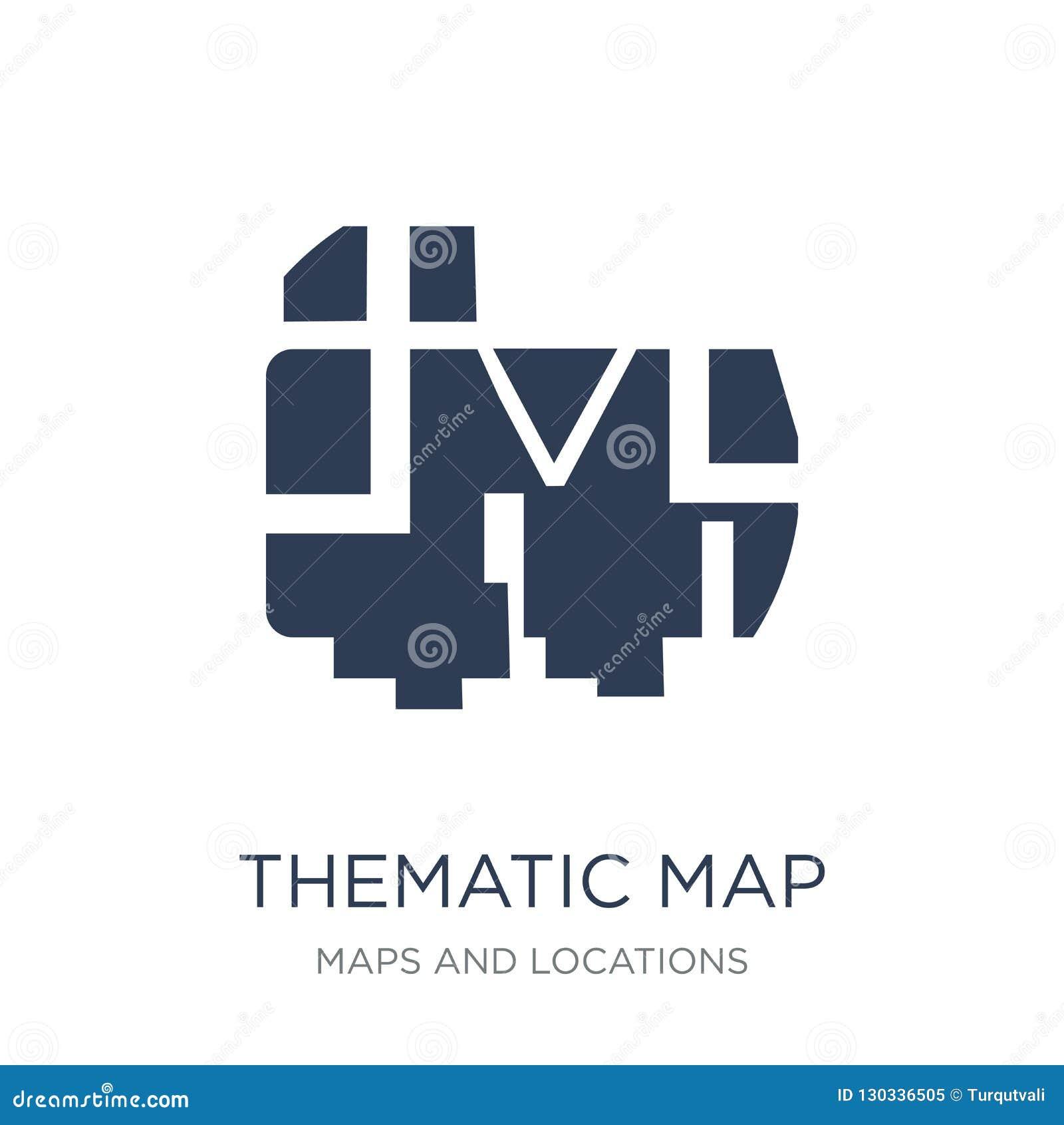 Icona tematica della mappa Icona tematica della mappa di vettore piano d avanguardia su bianco
