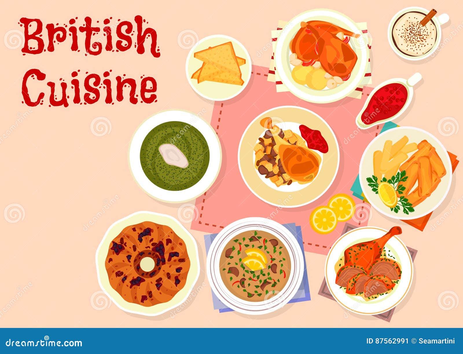 Icona Tradizionale Del Menu Della Cena Di Cucina Britannica ...