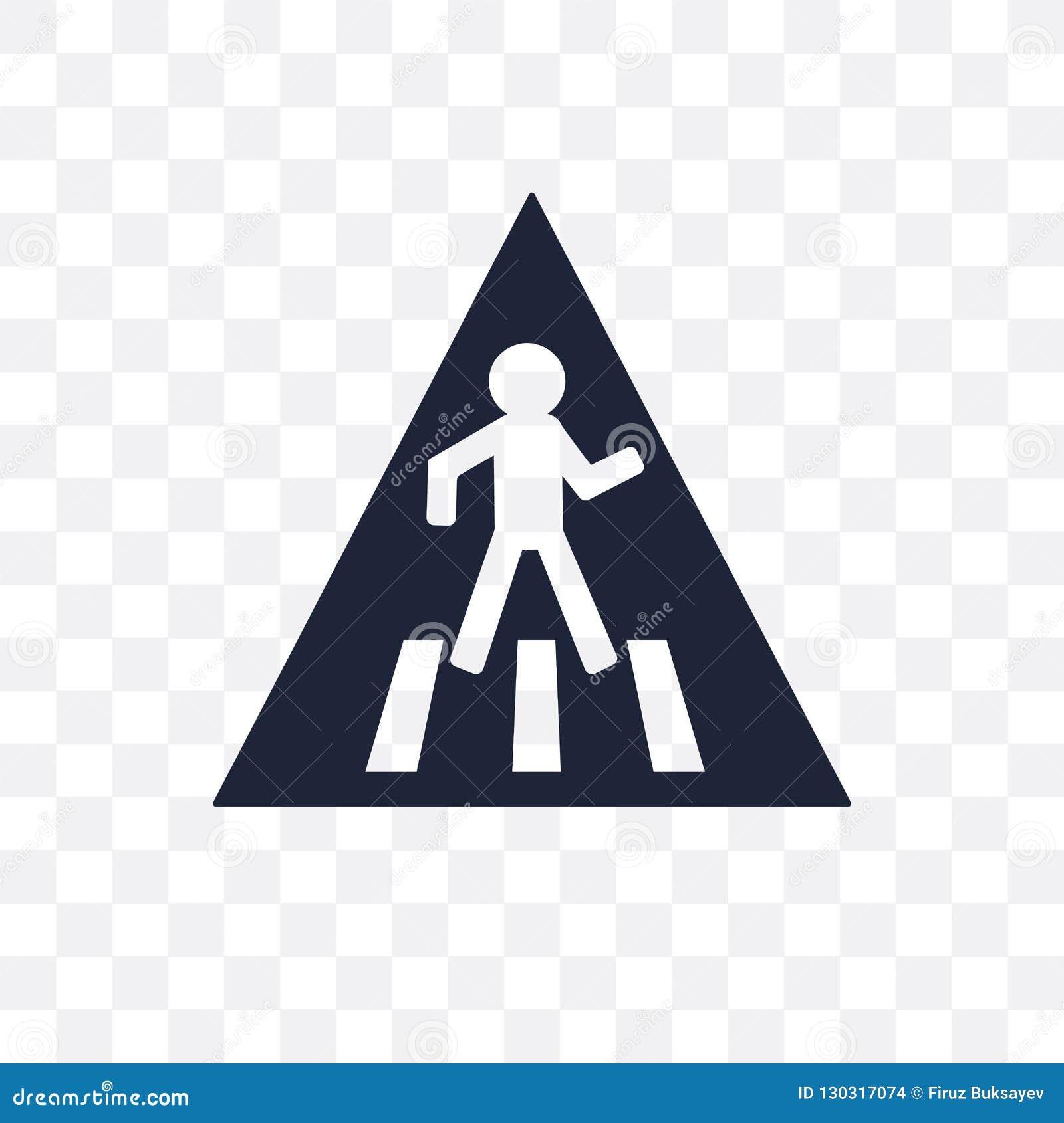 Icona trasparente del segno del passaggio pedonale Simbolo del segno del passaggio pedonale