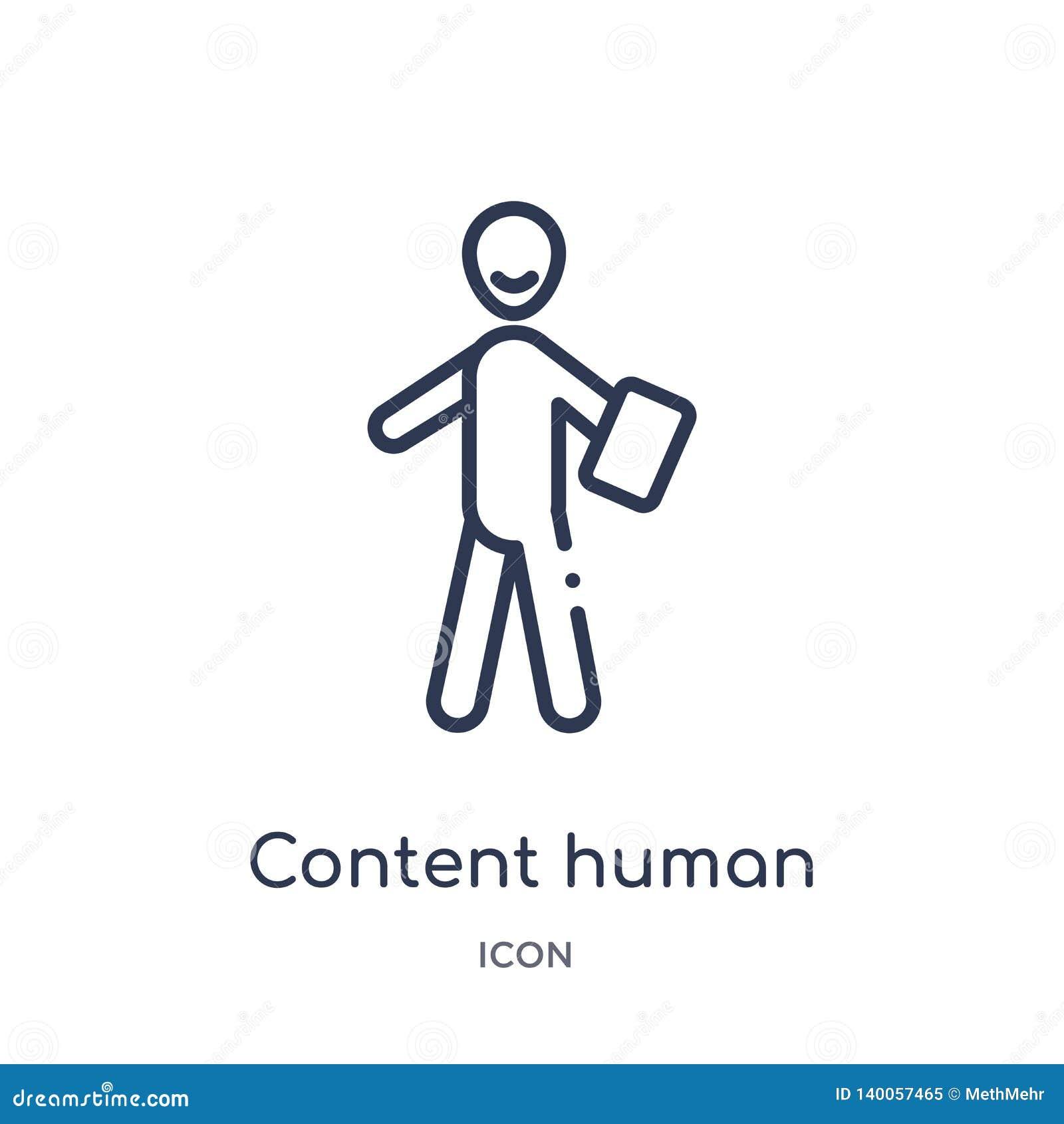 Icona umana contenta lineare dalla raccolta del profilo di sensibilità Linea sottile vettore umano del contenuto isolato su fondo