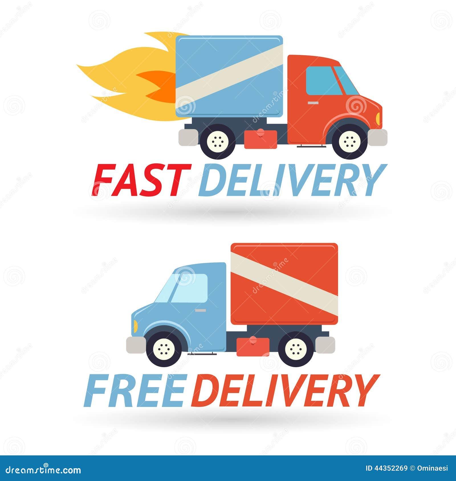 Icona veloce del camion di trasporto di simbolo di consegna gratuita