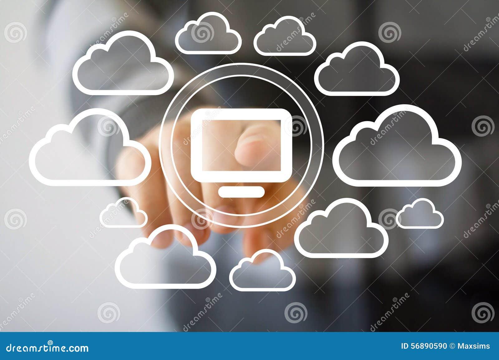 Icona virtuale della nuvola del computer del collegamento di media del bottone di affari