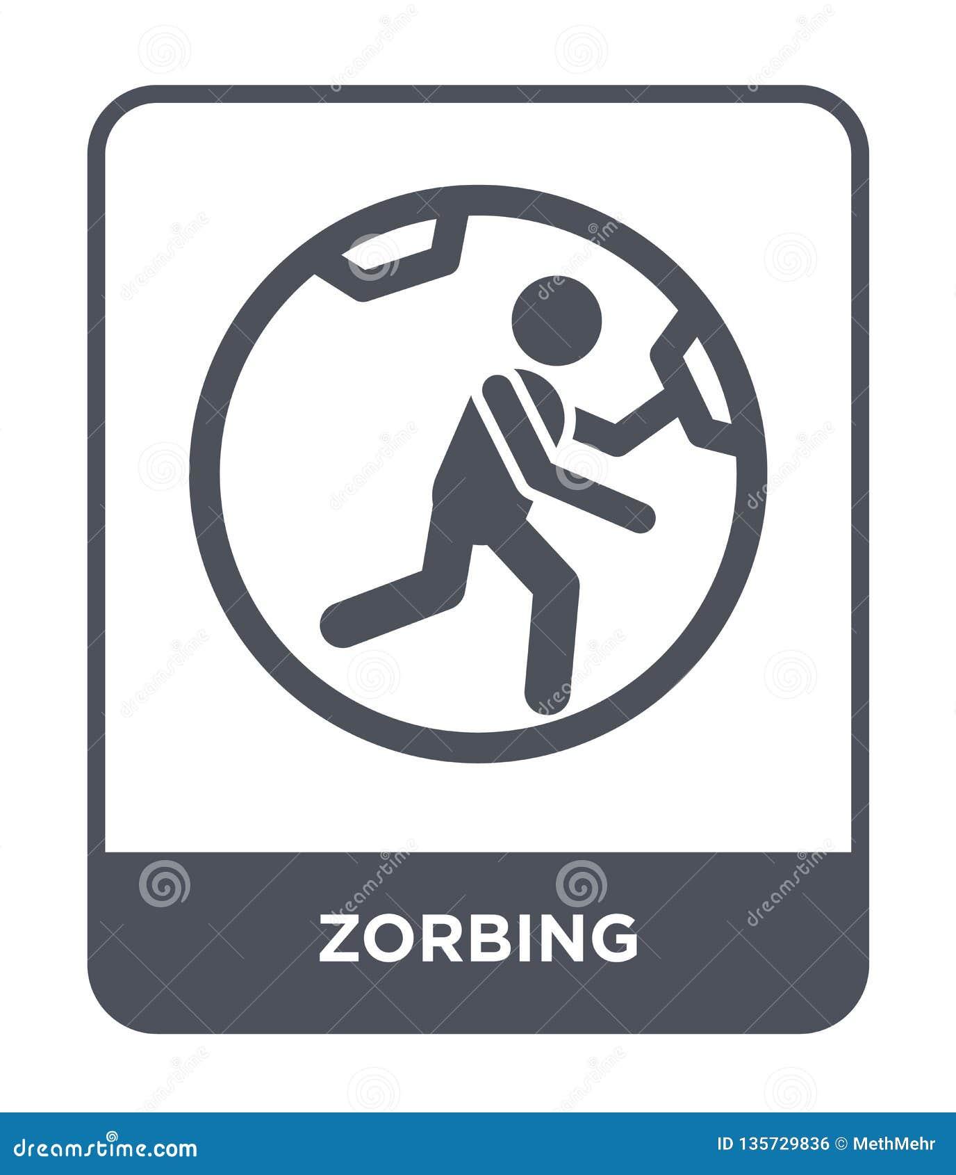 Icona zorbing nello stile d avanguardia di progettazione icona zorbing isolata su fondo bianco simbolo piano semplice e moderno d