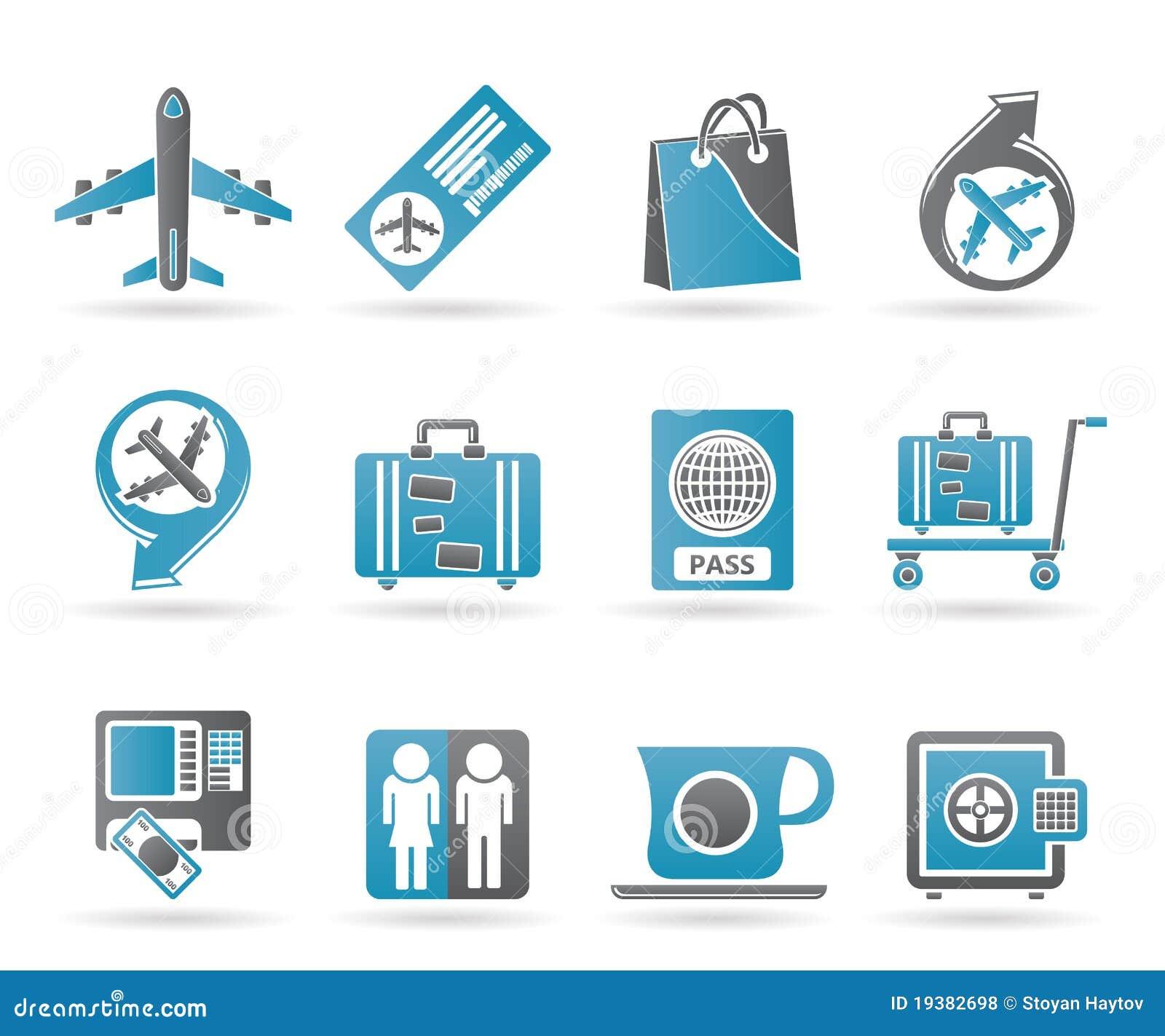 Icone 1 dell aeroporto, di corsa e del trasporto