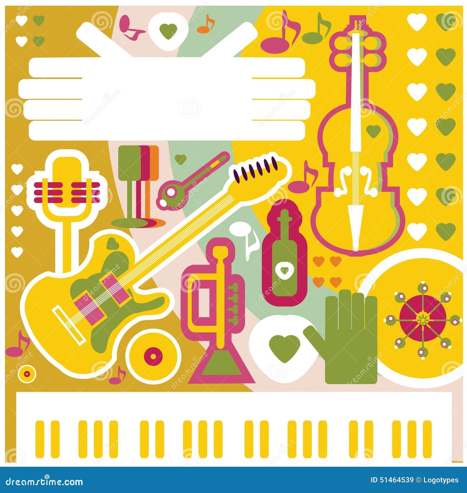 Icone astratte di musica del collage dell illustrazione del fondo di musica