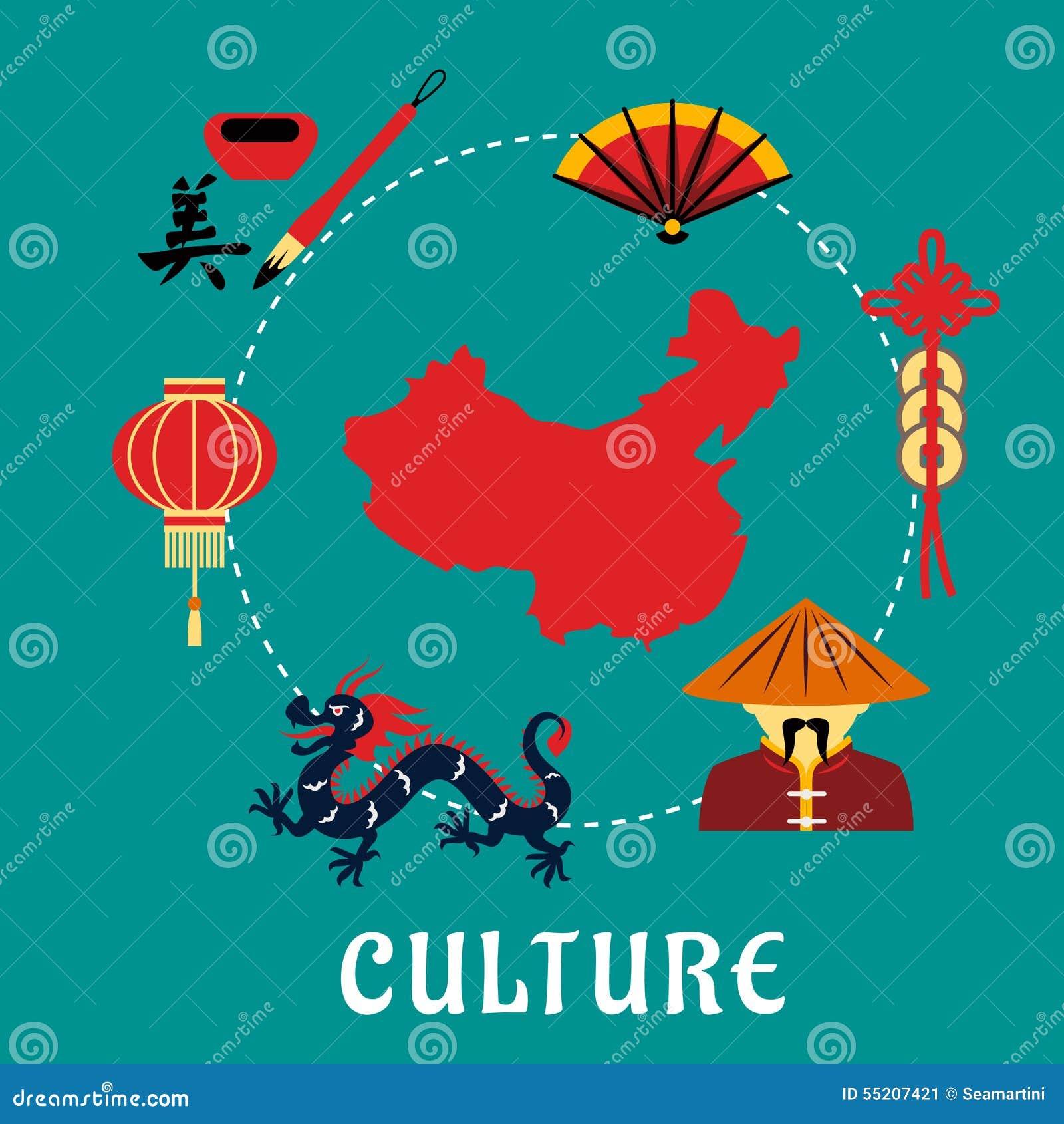 Icone cinesi della cultura intorno ad una mappa