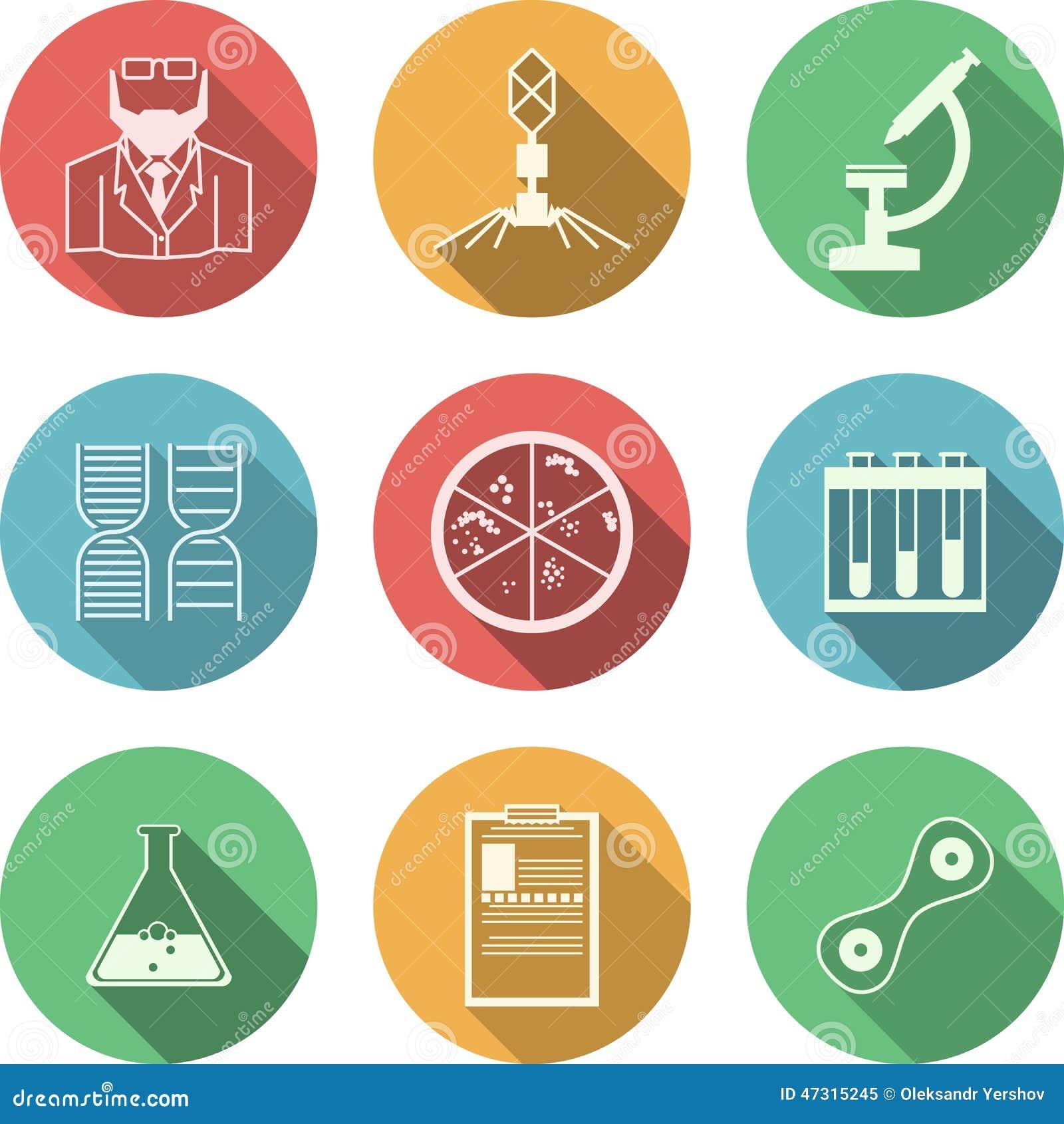 Icone colorate per batteriologia