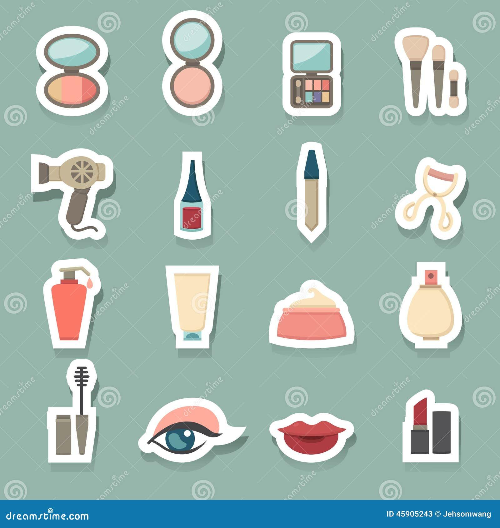 Icone cosmetiche di trucco messe
