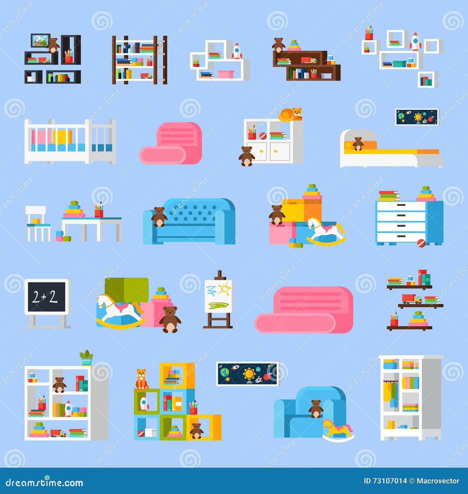 Icone decorative piane della mobilia della stanza del for Mobilia lavagna