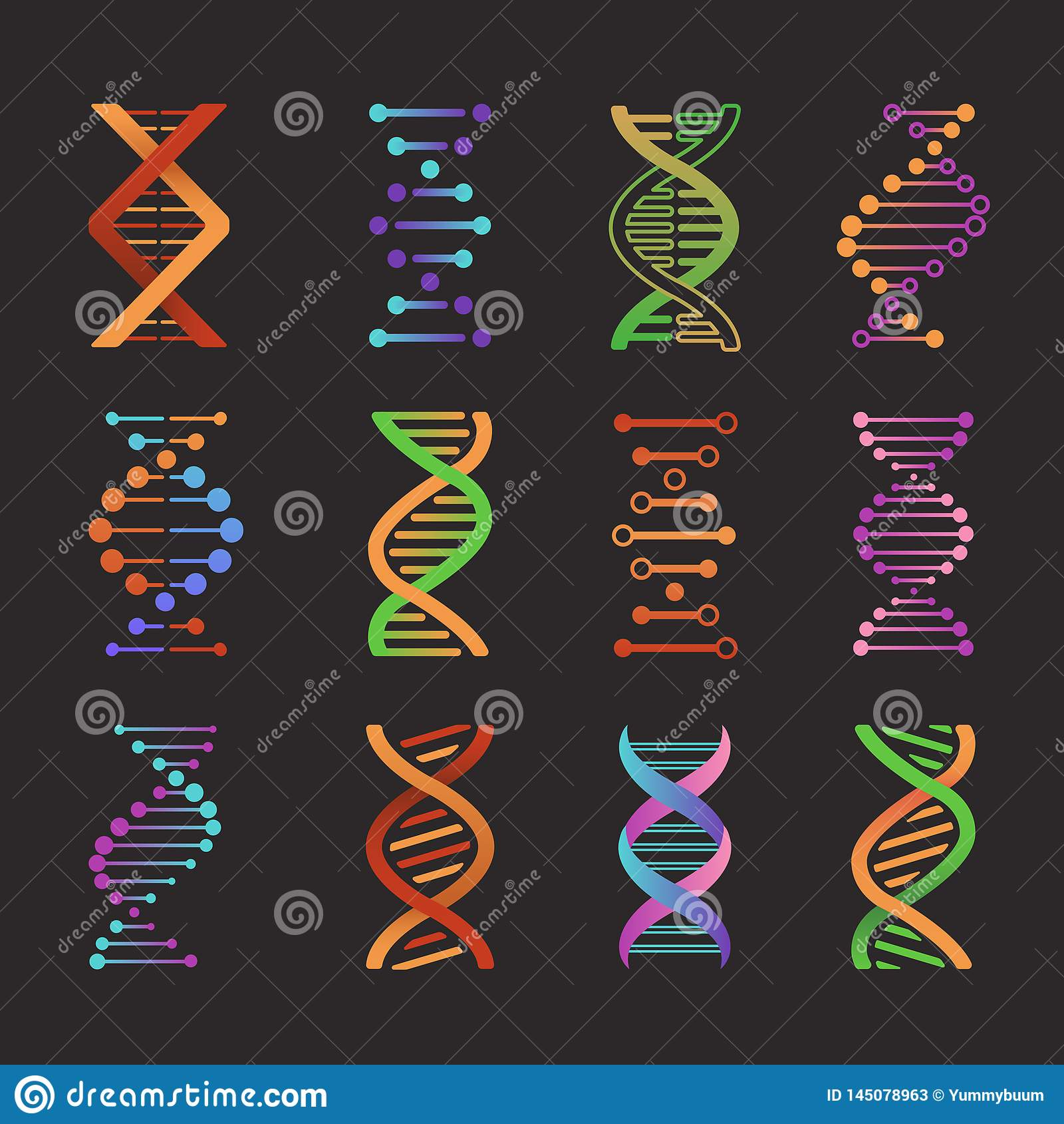 Icone del DNA Simboli della doppia elica del laboratorio di ricerca di biochimica, pittogrammi di modello del gene Vettore della
