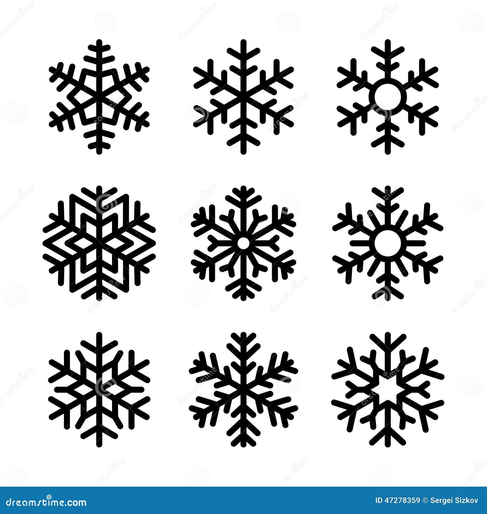Icone del fiocco di neve messe su fondo bianco Vettore