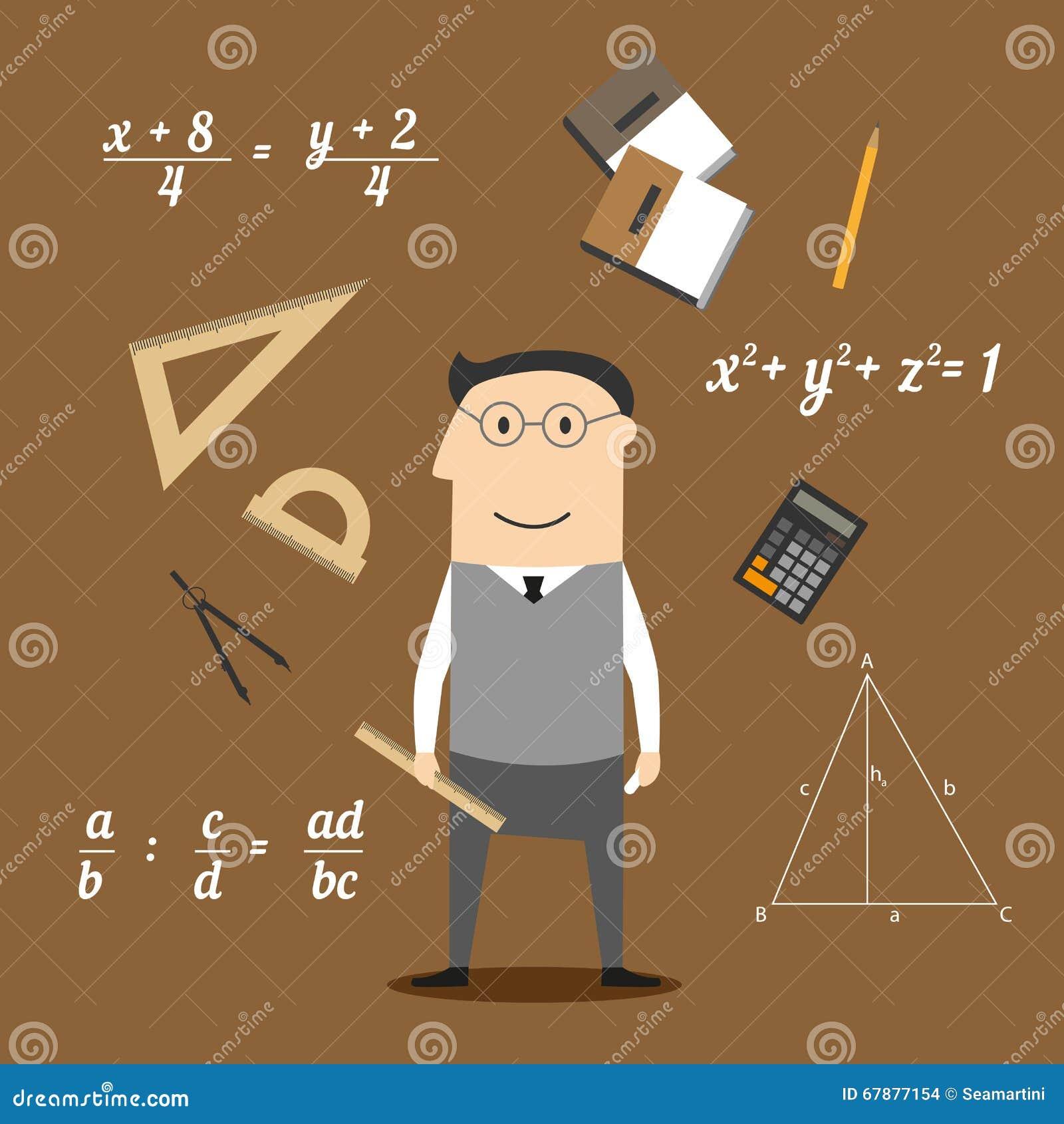 Icone del matematico o dell insegnante e di istruzione