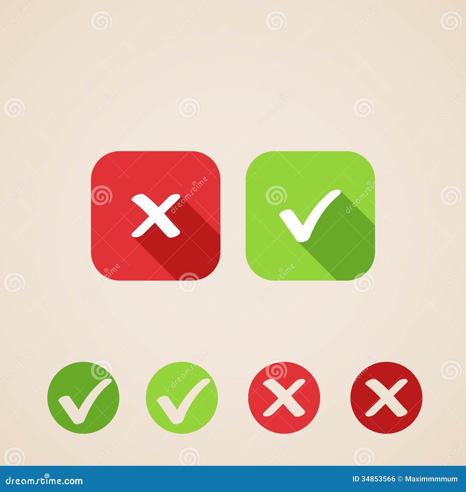 Icone Del Segno Di Spunta Di Vettore. Icone Piane Per Le ... X And Check Icon