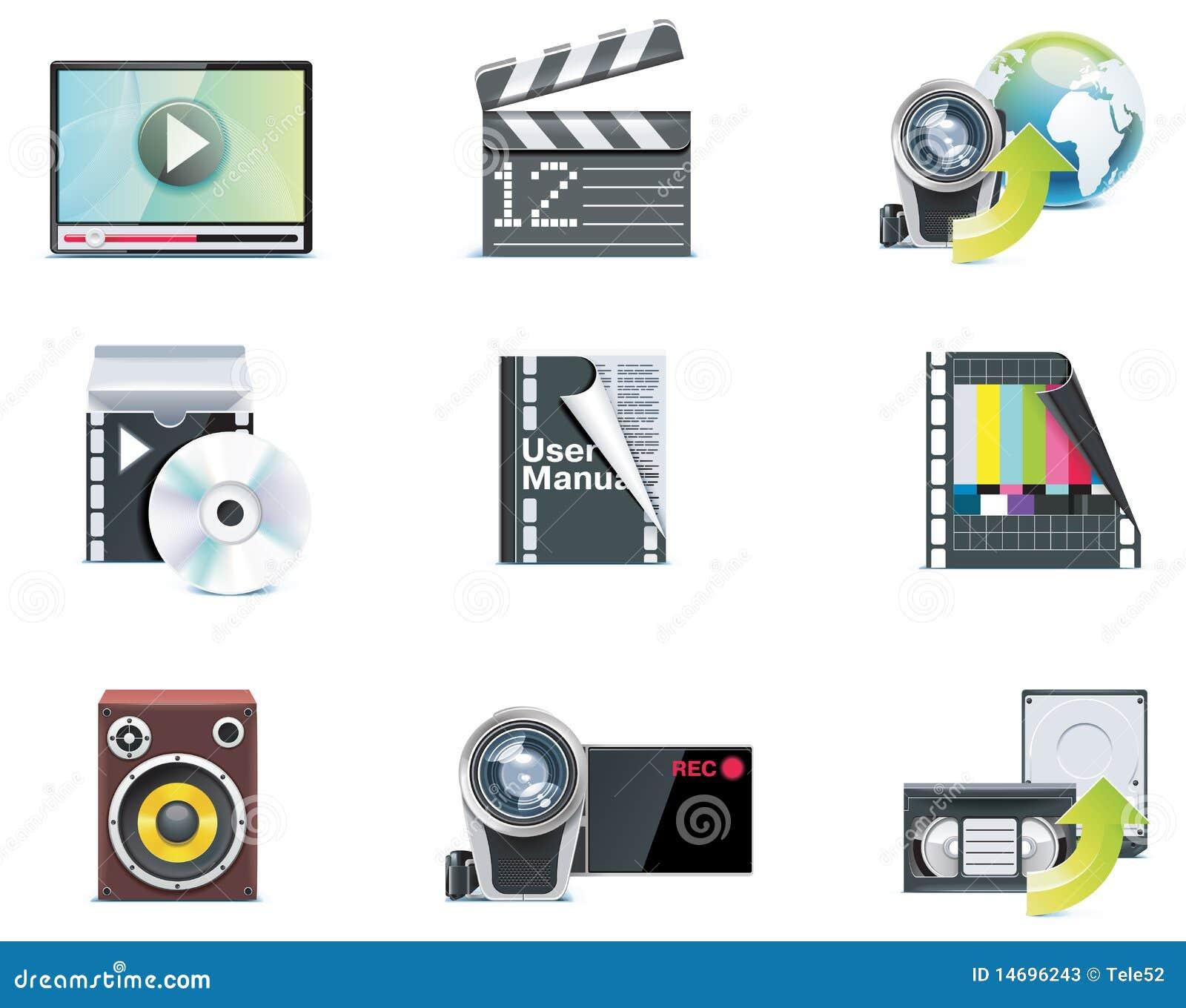 Icone del video di vettore