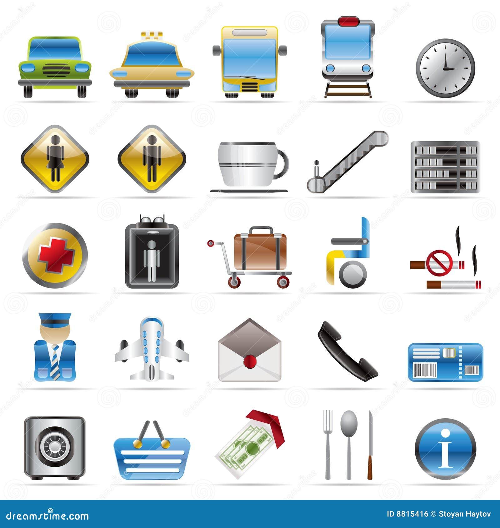 Icone dell aeroporto, di corsa e del trasporto