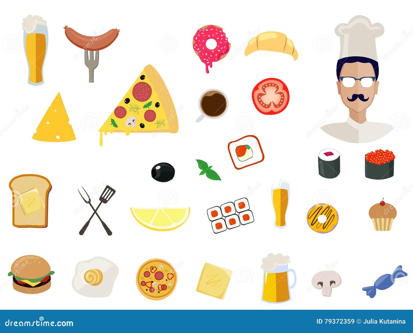 Icone dell alimento di vettore per il ristorante su fondo