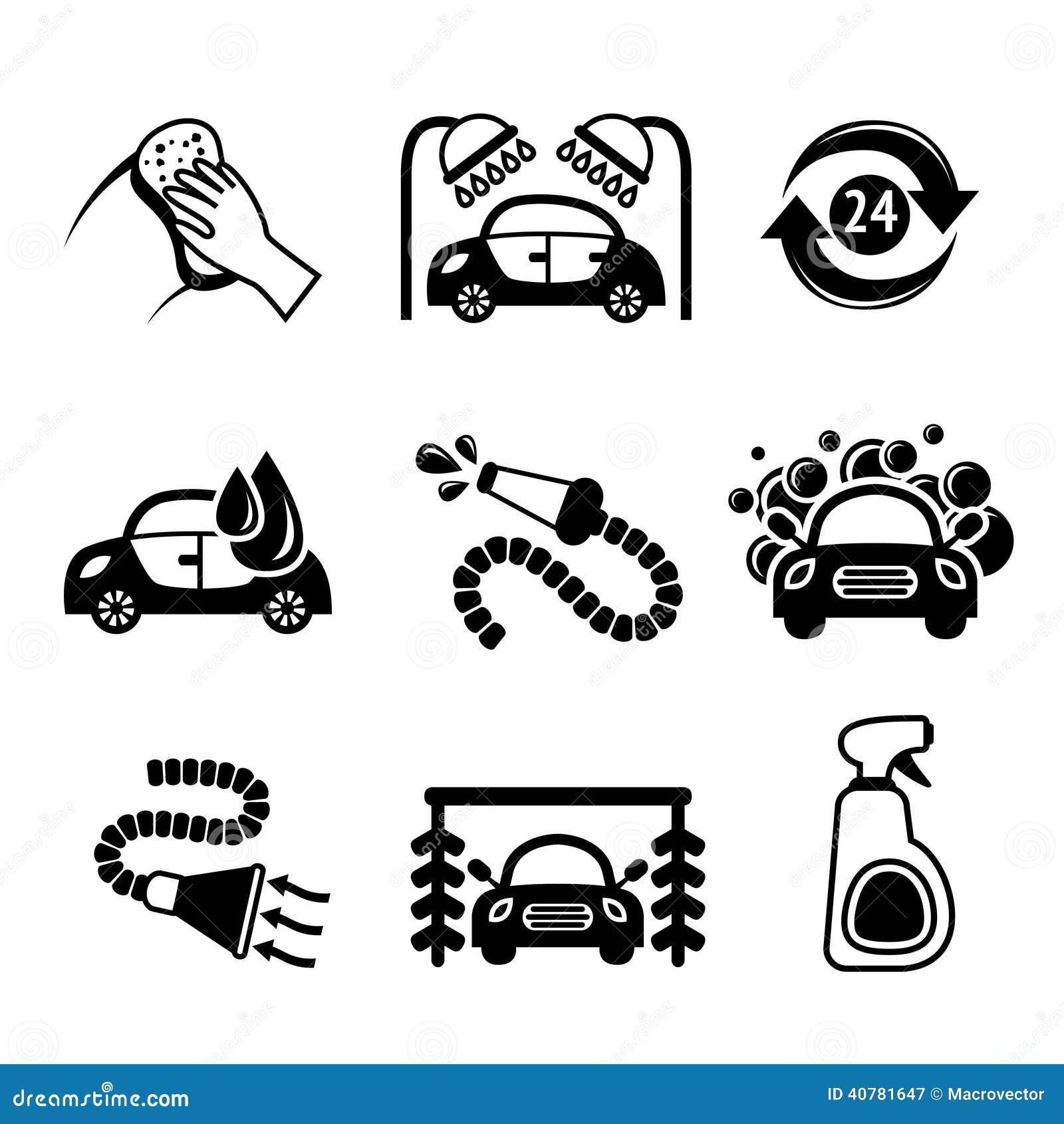 Icone dell 39 autolavaggio in bianco e nero illustrazione vettoriale immagine 40781647 - Piastrelle 15x15 bianco lucido ...