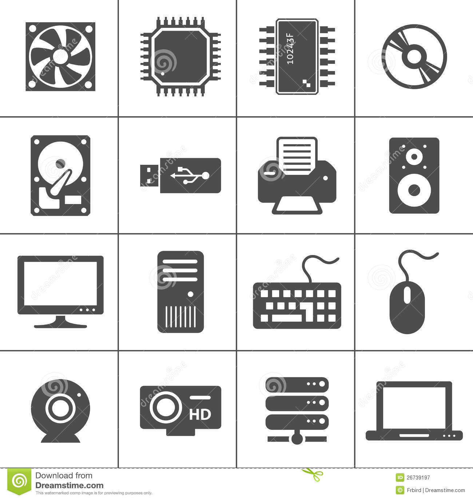 Arbeitsblätter Computer Hardware : Icone dell hardware di calcolatore illustrazione
