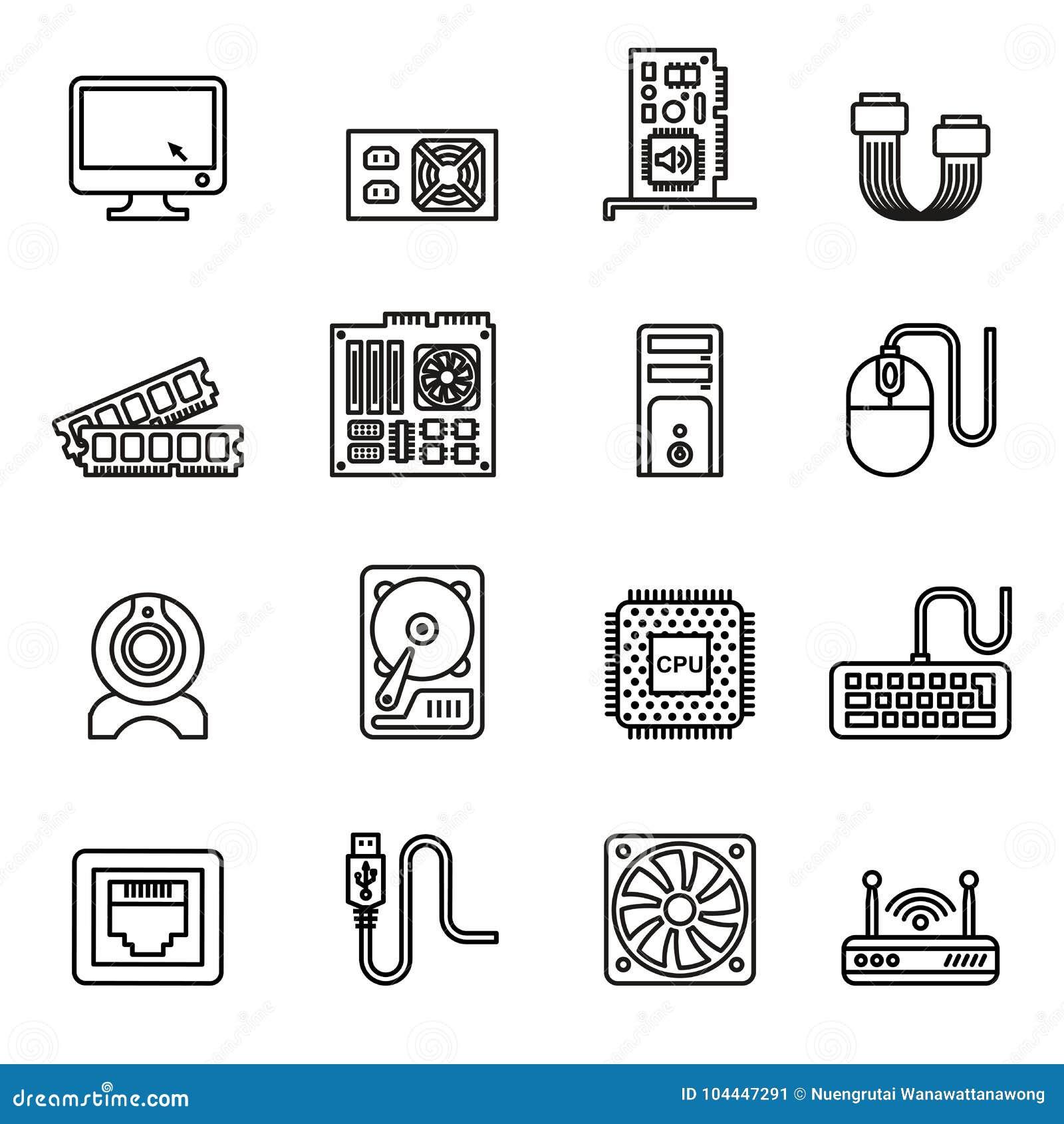 Icone dell hardware di calcolatore impostate
