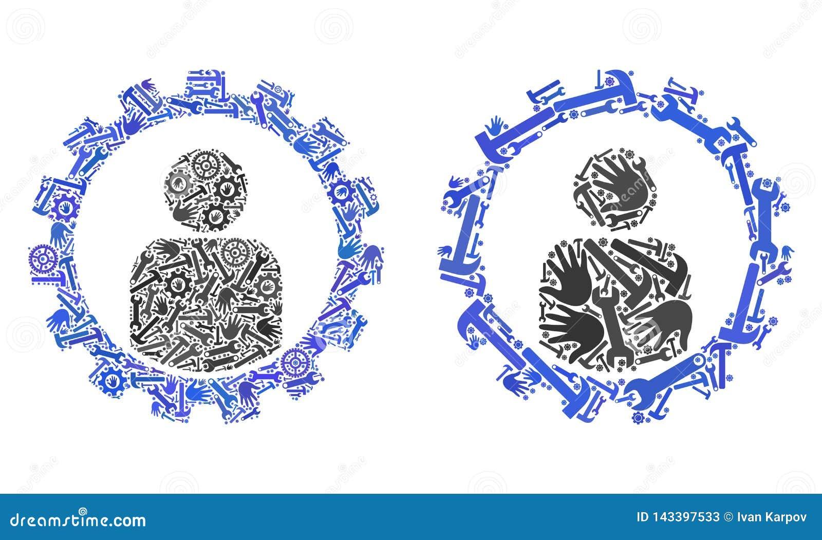 Icone dell ingranaggio di messa a punto di cliente del collage degli strumenti di riparazione
