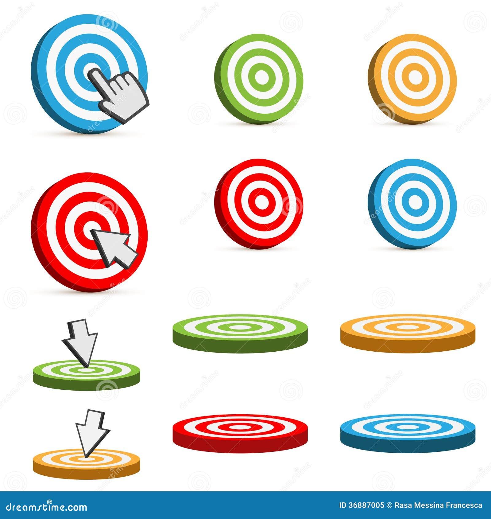 Download Icone dell'obiettivo illustrazione vettoriale. Illustrazione di colorful - 36887005