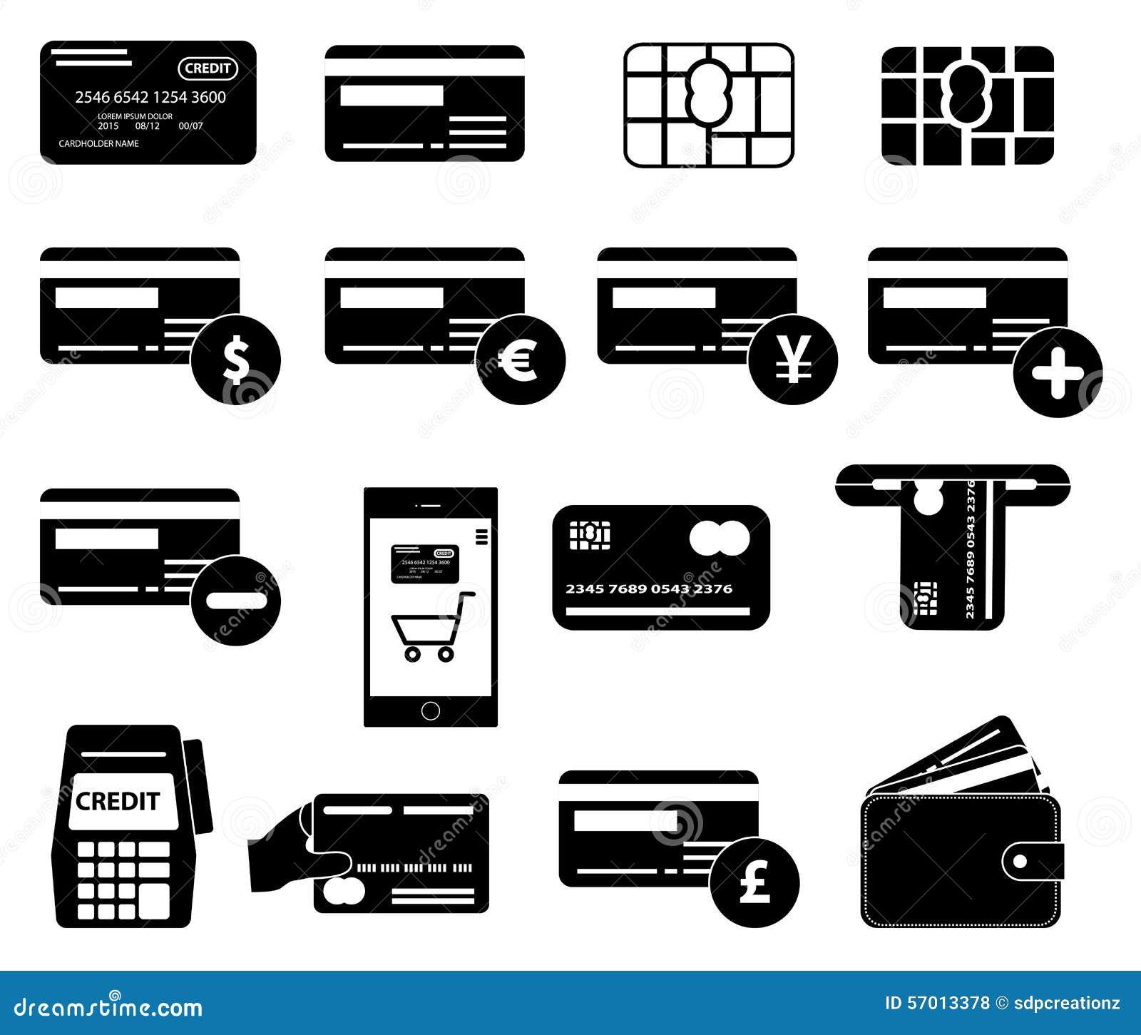 Icone della carta di credito messe