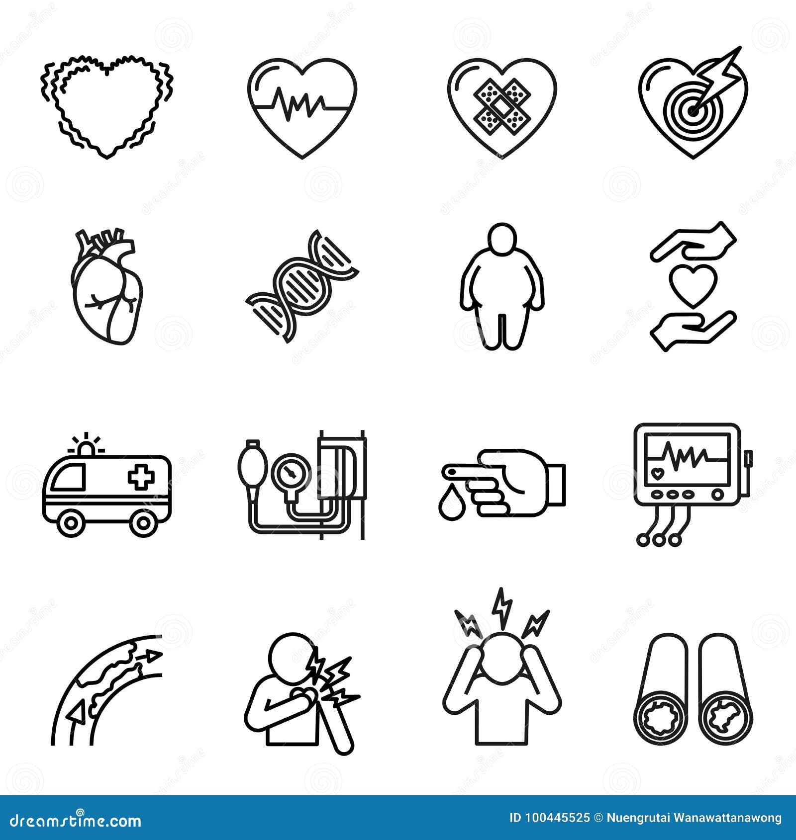 Icone della malattia cardiaca, di attacco di cuore e di sintomi messe