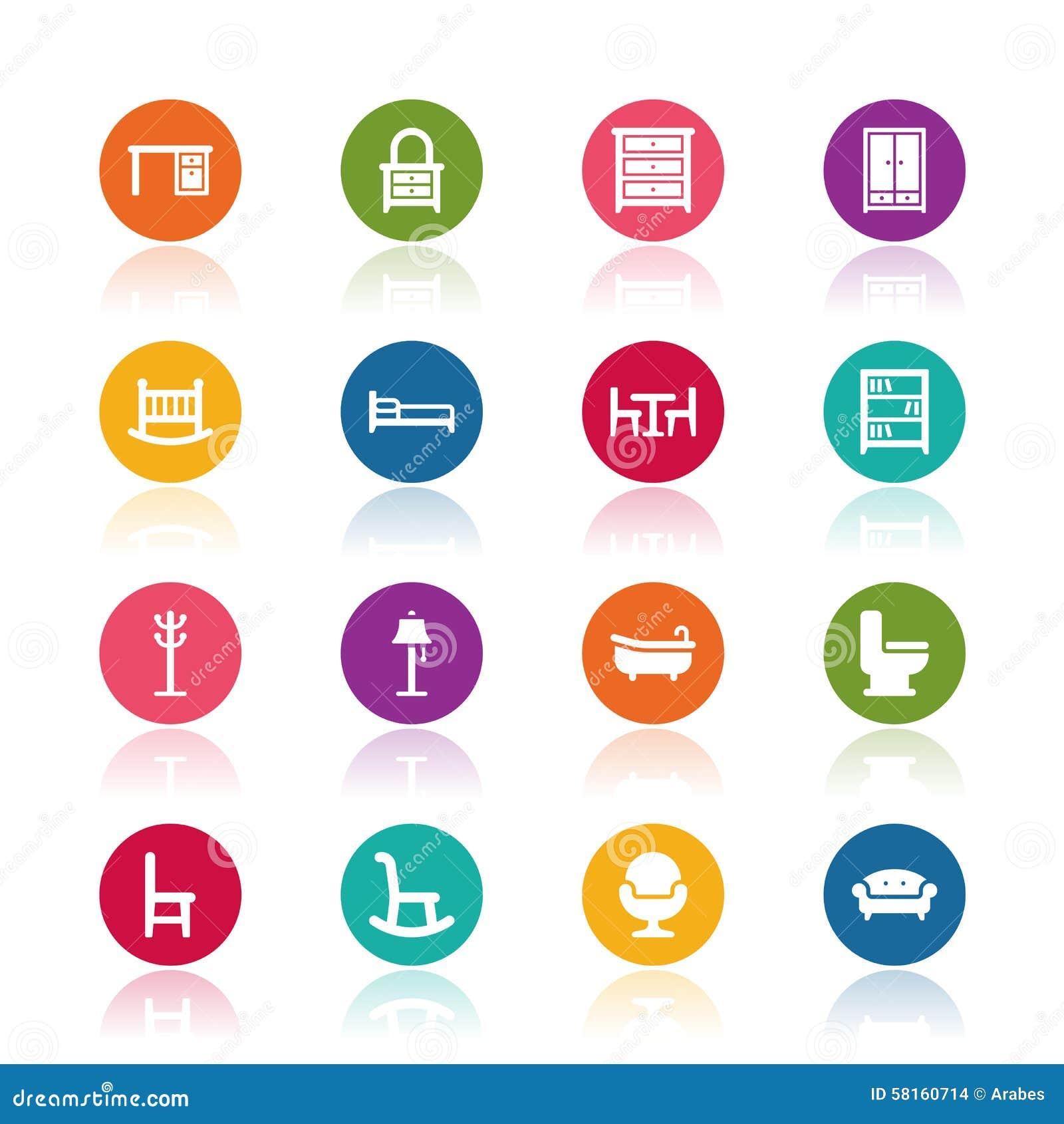Icone della mobilia illustrazione vettoriale for Mobilia download