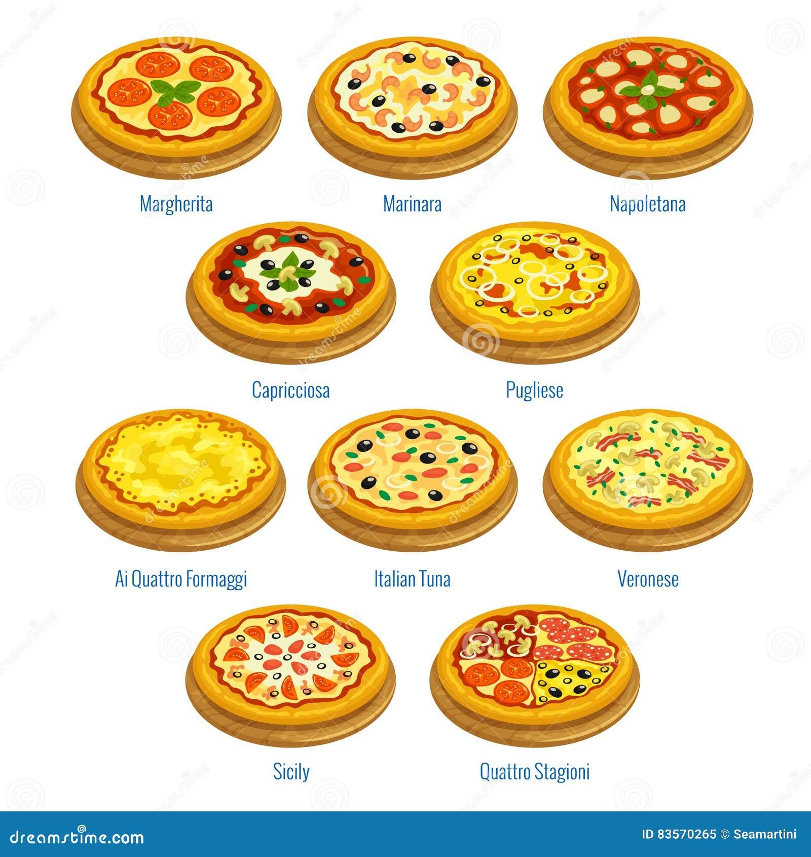 Icone Della Pizza Elementi Italiani Del Menu Di Cucina