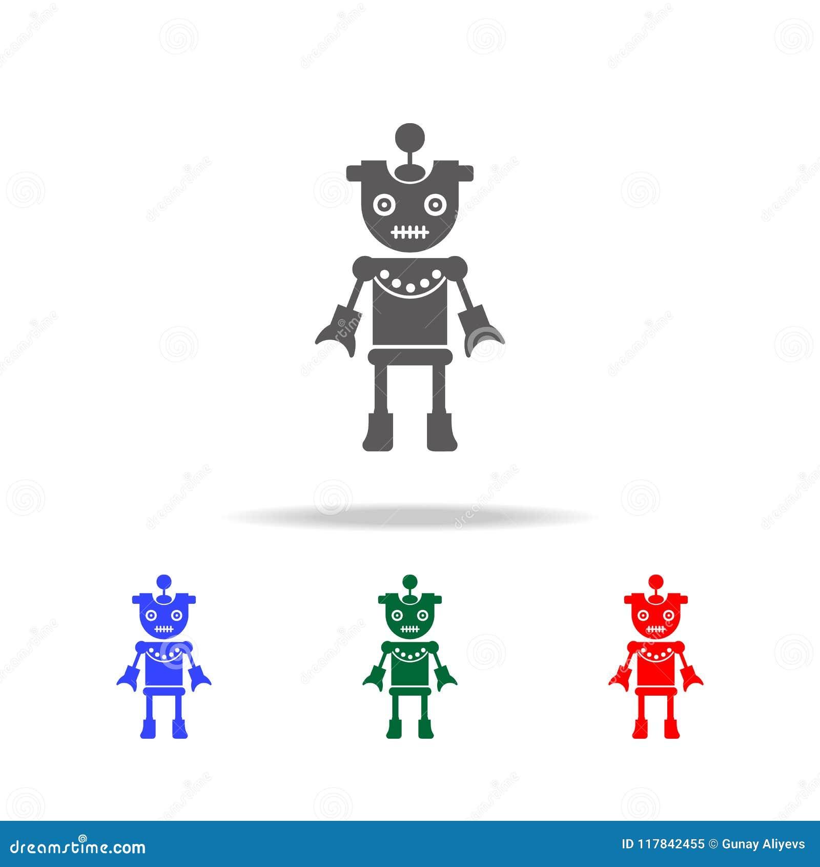 Icone della ragazza del robot Elementi dei robot nelle multi icone colorate Icona premio di progettazione grafica di qualità Icon